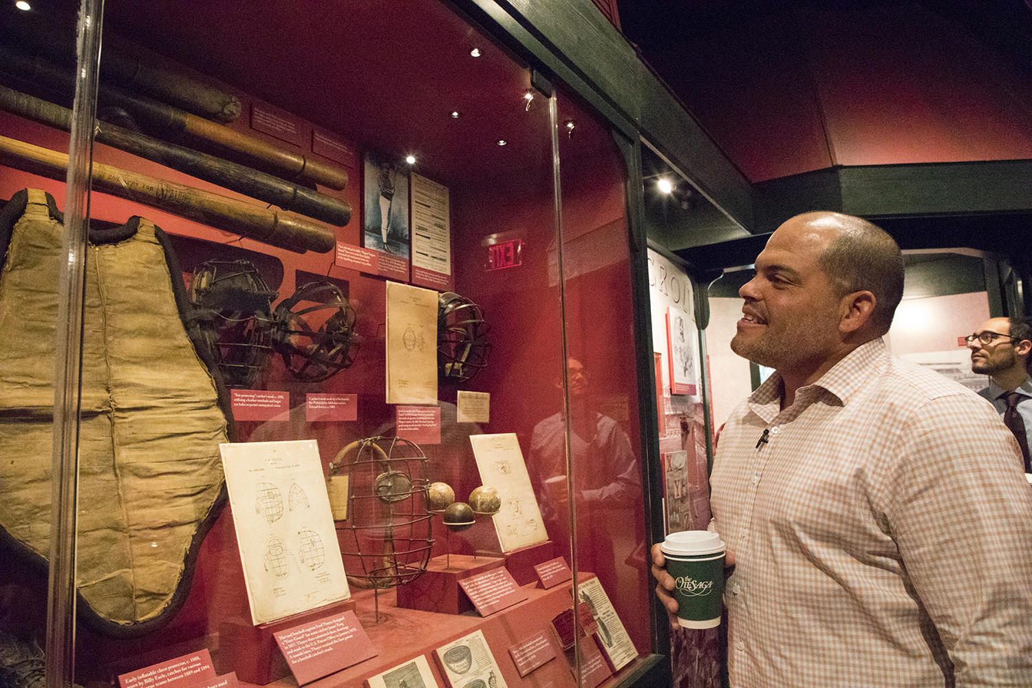 Iván Rodríguez, pictured above, takes a tour of the Museum during his Feb. 28 visit in preparation for his induction into the Hall of Fame. (Milo Stewart Jr. / National Baseball Hall of Fame)