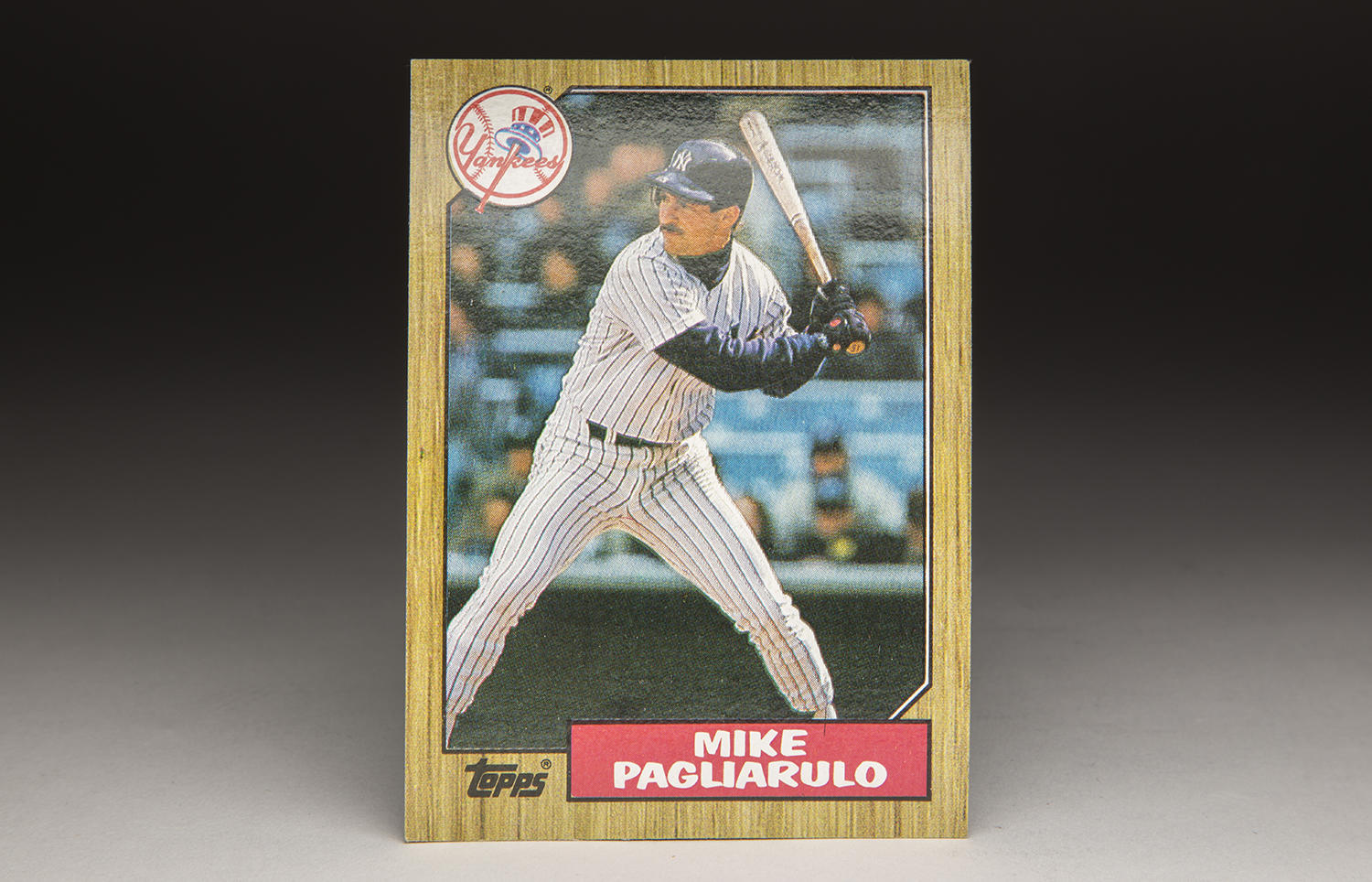 Mike Pagliarulo is shown taking a swing on the front of his 1987 Topps card. (Milo Stewart Jr. / National Baseball Hall of Fame and Museum)