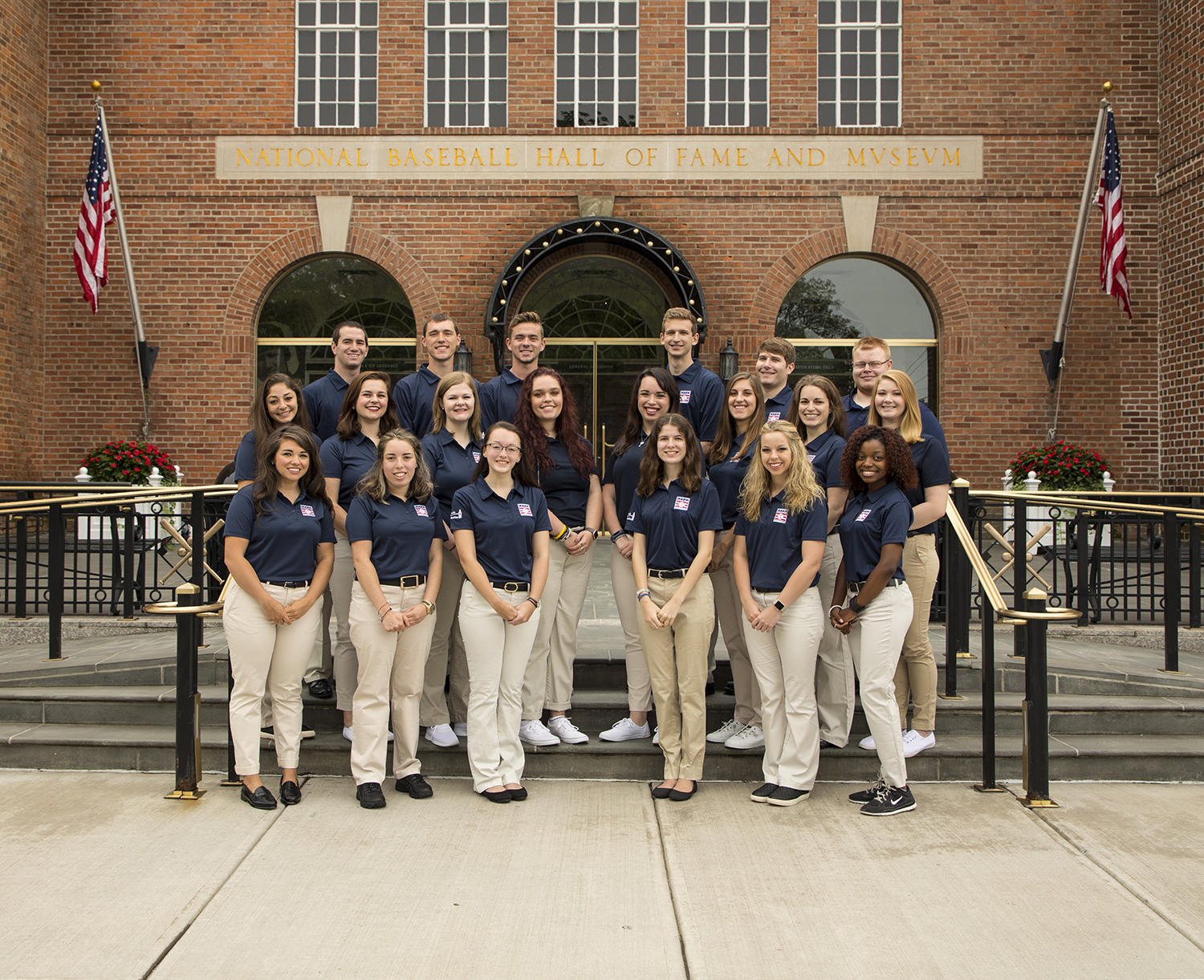 The 2017 class of Frank and Peggy Steele Interns is pictured above. Top row, from left to right: Kyle Grozen, Charles Barchett, Justin Hendry, Samuel Dreyfuss, Michael Fishbach, Eldon Yeakel; Middle row, from left to right: Erica Wells, Cady Lowery, Hannah Mahnken, Emily Cooper, Emily Perdue, Madeline Chessario, Hanna Soltys, Cassidy Murray; bottom row, from left to right: Meghan Anderson, Samantha Selikoff, Rebecca Finnigan, Elizabeth Muratore, Addison Skaggs, Cagney Irving. (Milo Stewart Jr. / National Baseball Hall of Fame and Museum)