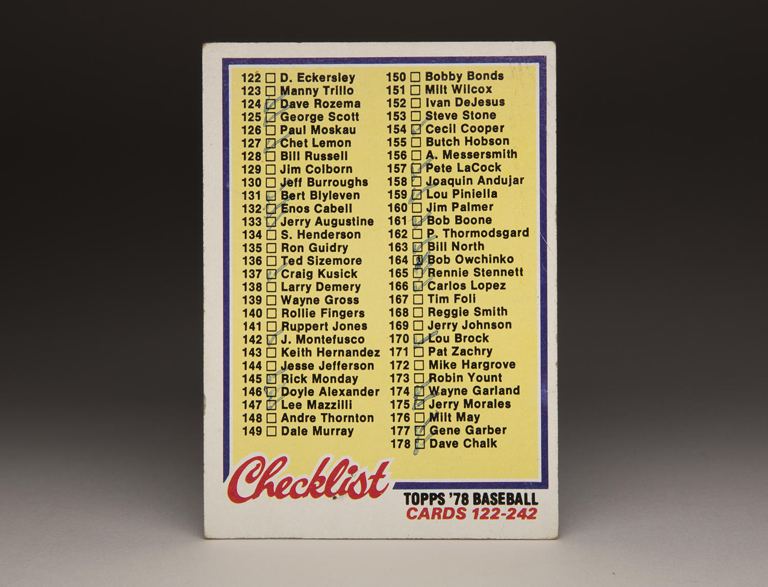 """Topps began putting out """"checklist"""" cards like this one from 1978, pictured above, in 1956. (Milo Stewart Jr. / National Baseball Hall of Fame and Museum)"""