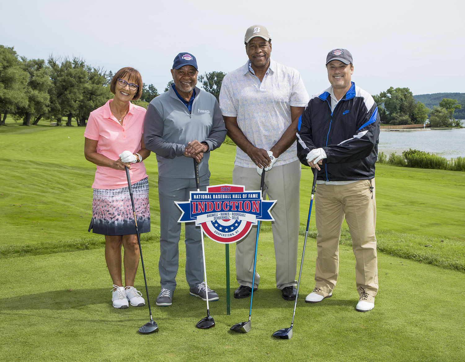 (Pictured from left to right): Debbie Dennler, Hall of Famer Ozzie Smith, Hall of Famer Dave Winfield and Randy Grossman comprised the winning team at the at the Hall of Fame Golf Tournament on Saturday at the Leatherstocking Golf Course in Cooperstown. (Milo Stewart Jr. / National Baseball Hall of Fame and Museum)