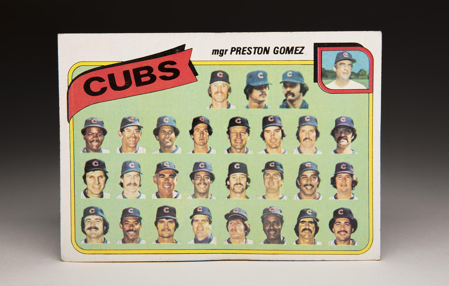 For years, Topps sets featured team cards, like this 1980 Cubs team card. For many years during the 1970s, the Cubs team cards featured only heads of the players instead of a standard team photo. (Milo Stewart Jr. / National Baseball Hall of Fame and Museum)