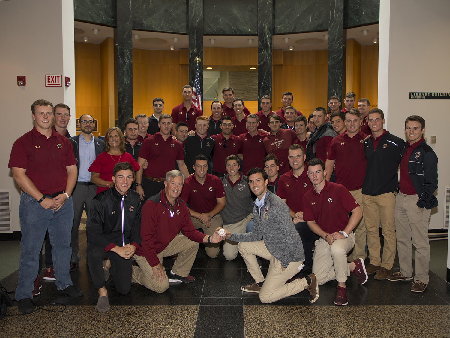 """The Boston College men's baseball team visited the Hall of Fame in honor of the """"Baseball and ALS"""" exhibit. (Milo Stewart Jr./National Baseball Hall of Fame and Museum)"""