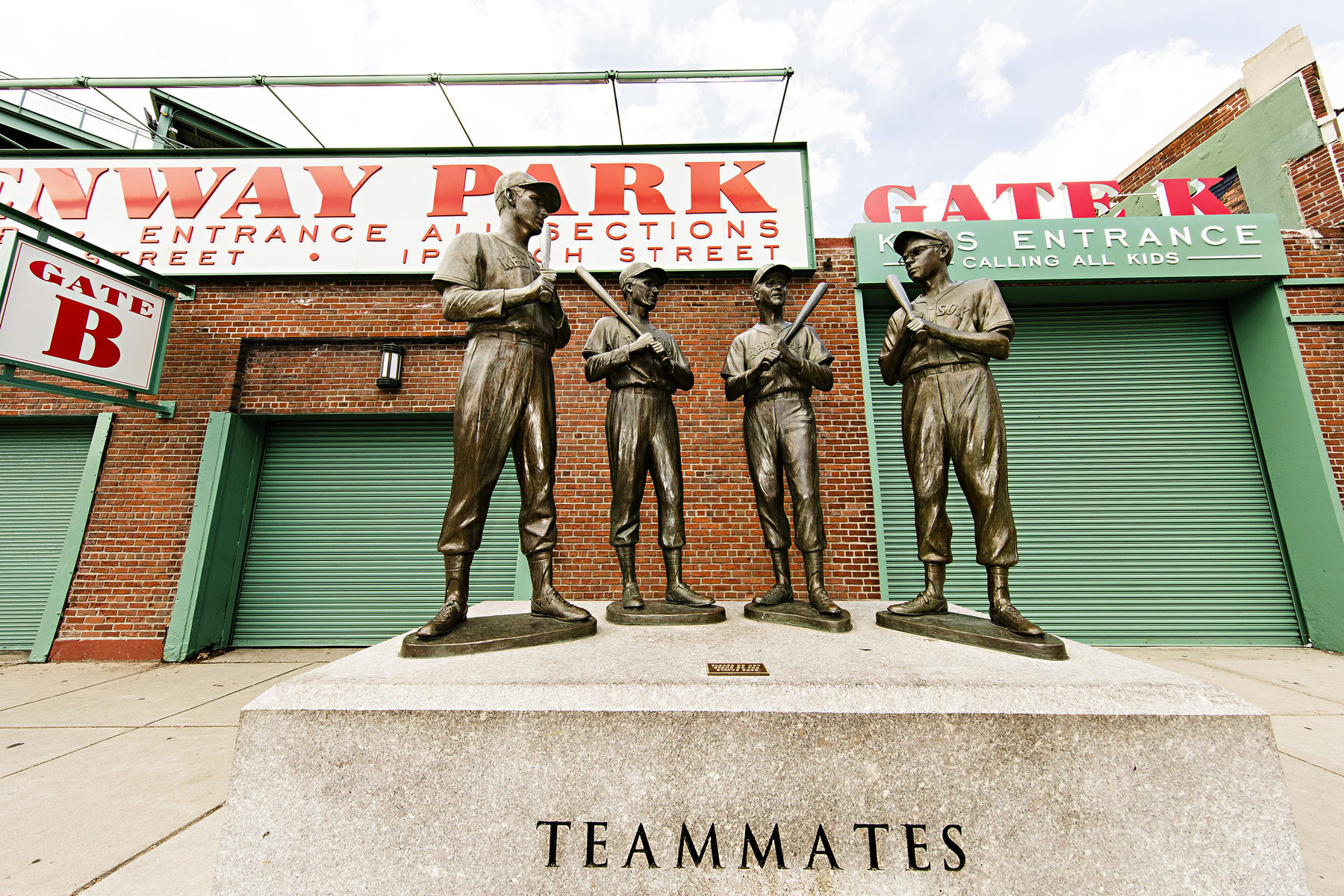 The Red Sox dedicated a statue featuring (from left) Ted Williams, Bobby Doerr, Johnny Pesky and Dom DiMaggio at Fenway Park in 2010. (By Traveling Photographer Jean Fruth/National Baseball Hall of Fame and Museum)