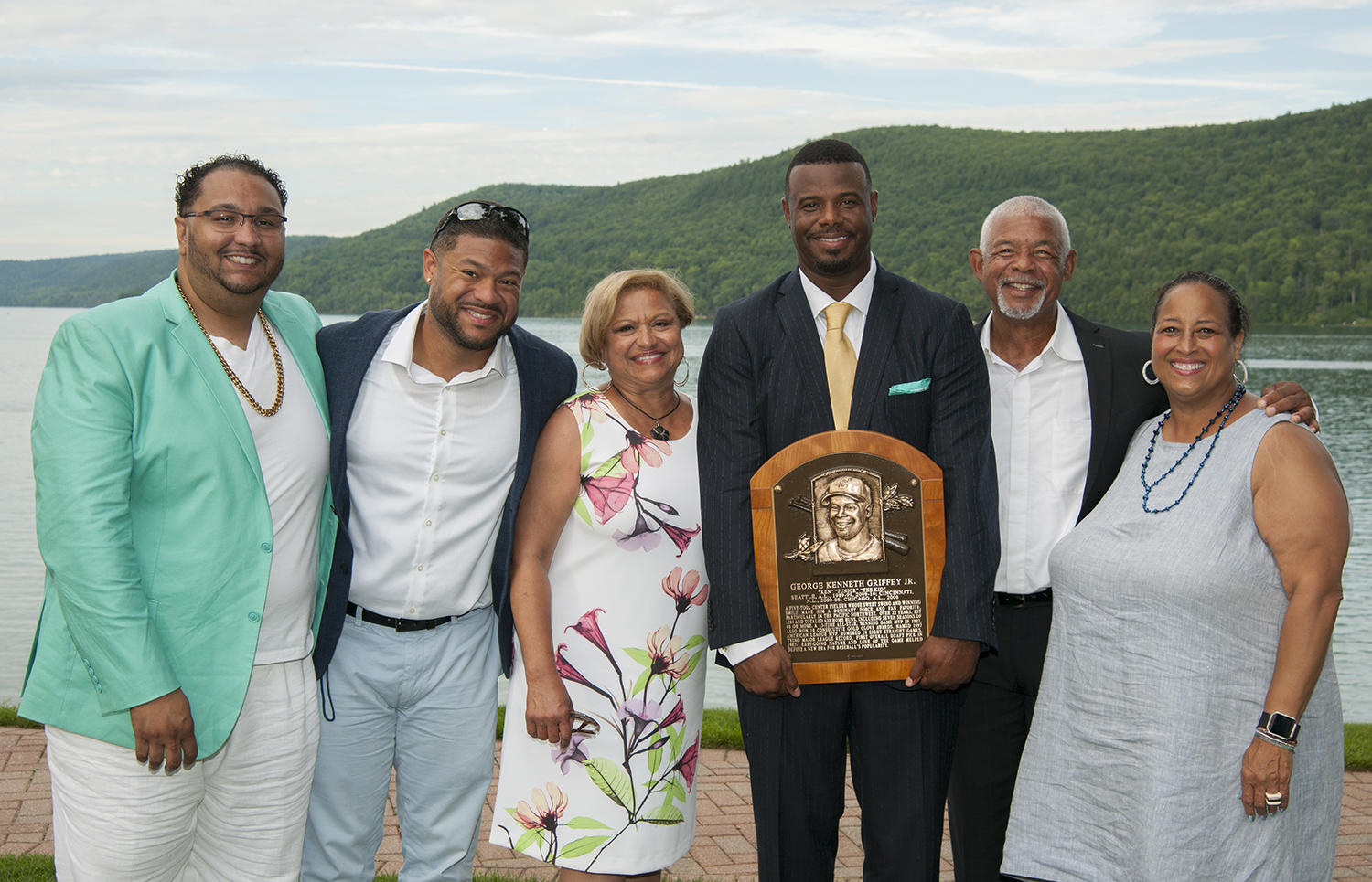 A close friend of Ken Griffey Sr. and Jr., Bobby Tolan attended Griffey Jr.'s Hall of Fame induction ceremony in 2016. He is pictured above, second from the right. (By Photographer Milo Stewart Jr./National Baseball Hall of Fame and Museum)