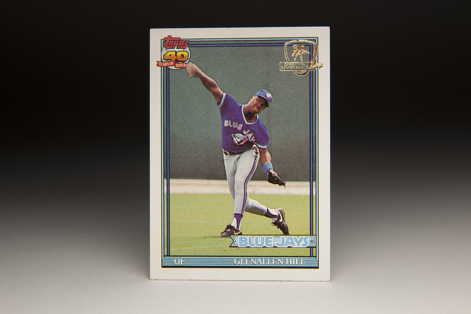 One of the most unusual Topps cards in the 1991 set is the Glenallen Hill card. Hill is shown mid-throw during a Spring Training game. (Milo Stewart Jr. / National Baseball Hall of Fame)