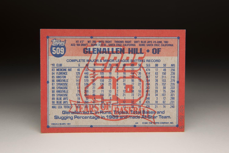 The reverse side of the 1991 Glenallen Hill Topps card. (Milo Stewart Jr. / National Baseball Hall of Fame)