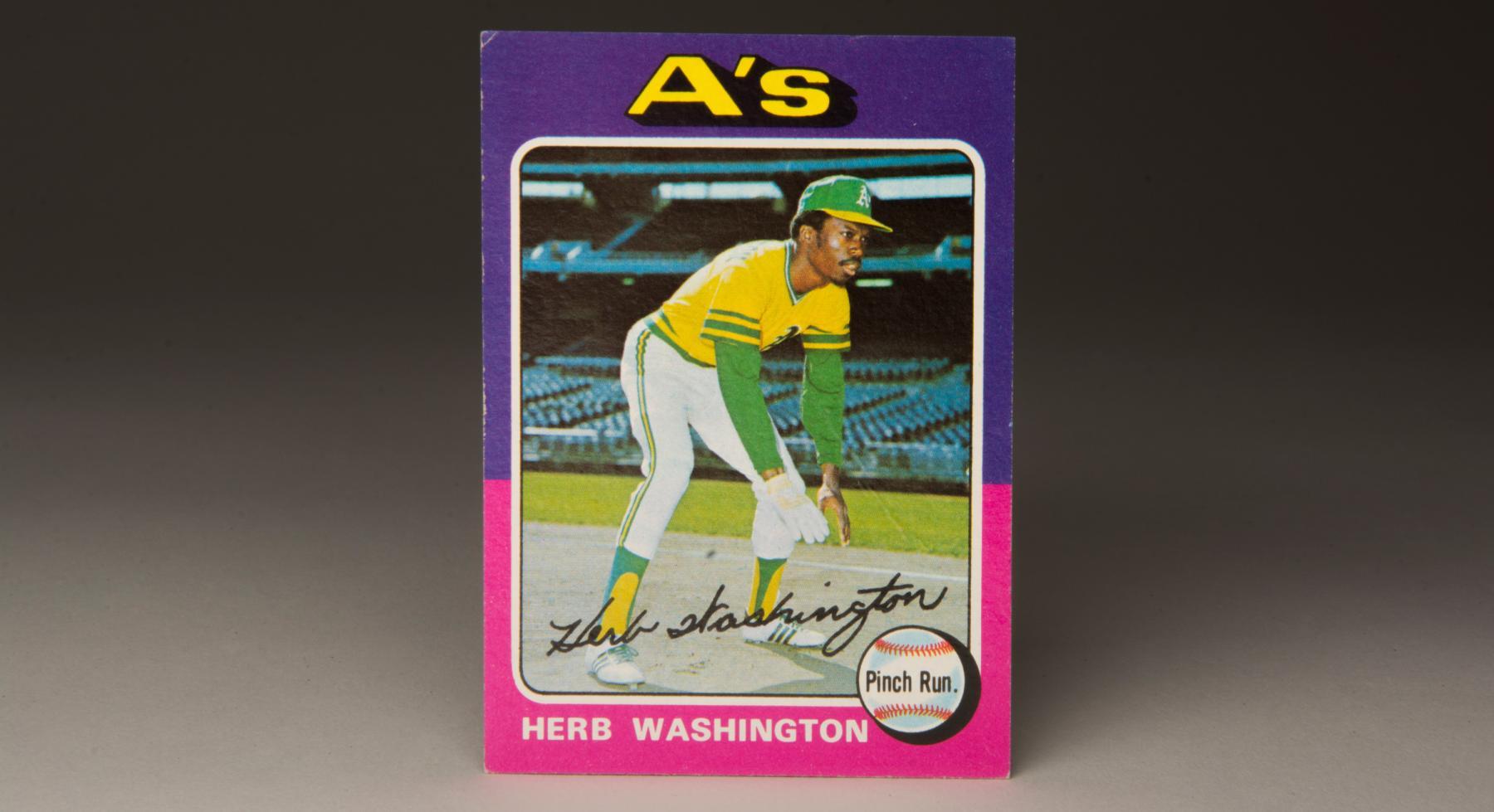 1975 Herb Washington Topps card. (Milo Stewart, Jr. / National Baseball Hall of Fame)