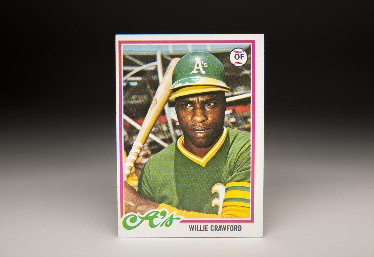 Willie Crawford's Topps card is unique for a myriad of reasons, including the fact that he's sporting a baseball cap underneath his helmet, a trend among some players in the 1970s. (Milo Stewart Jr. / National Baseball Hall of Fame)