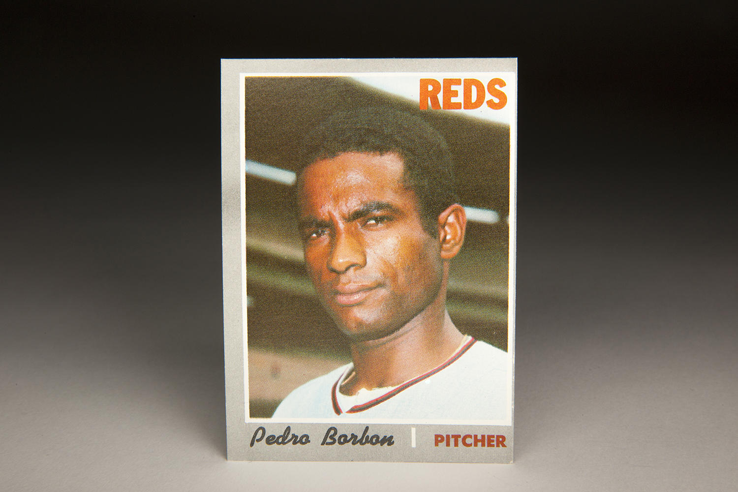 "Pedro Borbon's 1970 Topps card was his first as a big leaguer and came before he earned the nickname ""Dracula."" (Milo Stewart Jr. / National Baseball Hall of Fame)"