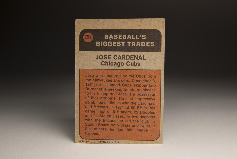 The reverse side of José Cardenal's 1972 Topps card. (Milo Stewart Jr. / National Baseball Hall of Fame)