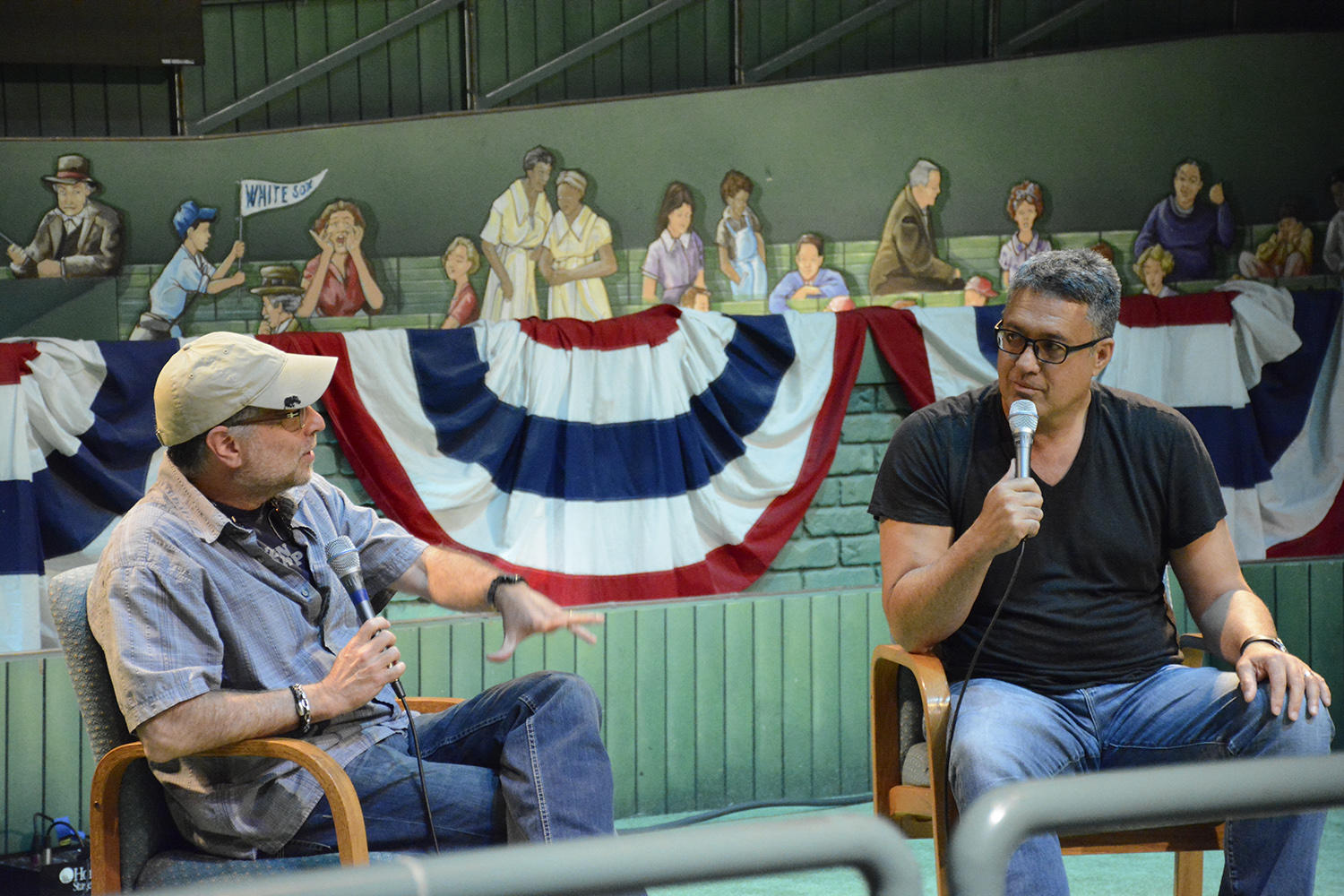 """Ron Darling and co-writer Daniel Paisner, discussing their new book """"Game 7, 1986: Failure and Triumph in the Biggest Game of My Life,"""" at the 2016 National Baseball Hall of Fame Author Series. (Milo Stewart Jr. / National Baseball Hall of Fame)"""