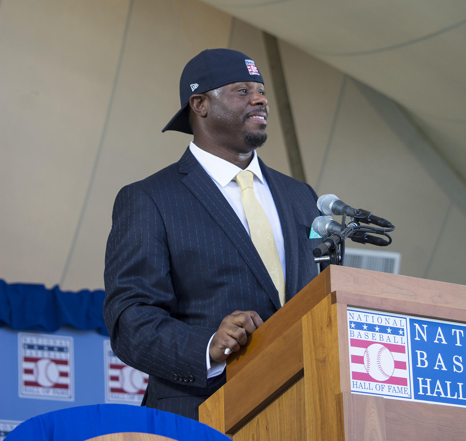 Hall of Fame Class of 2016 member Ken Griffey Jr. concluded his speech by sporting his trademark look -- a backwards hat. (Milo Stewart Jr. / National Baseball Hall of Fame)