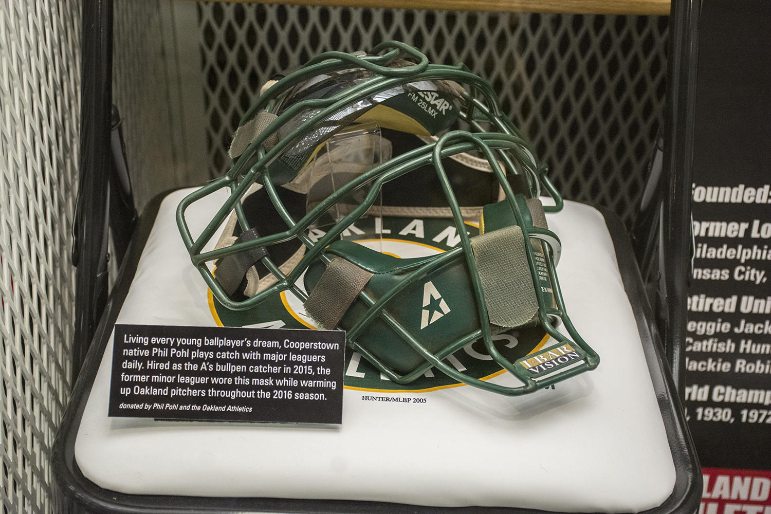 Phil Pohl's catcher's mask is now on display in the A's locker on the second floor of the Museum. (Milo Stewart Jr. / National Baseball Hall of Fame)