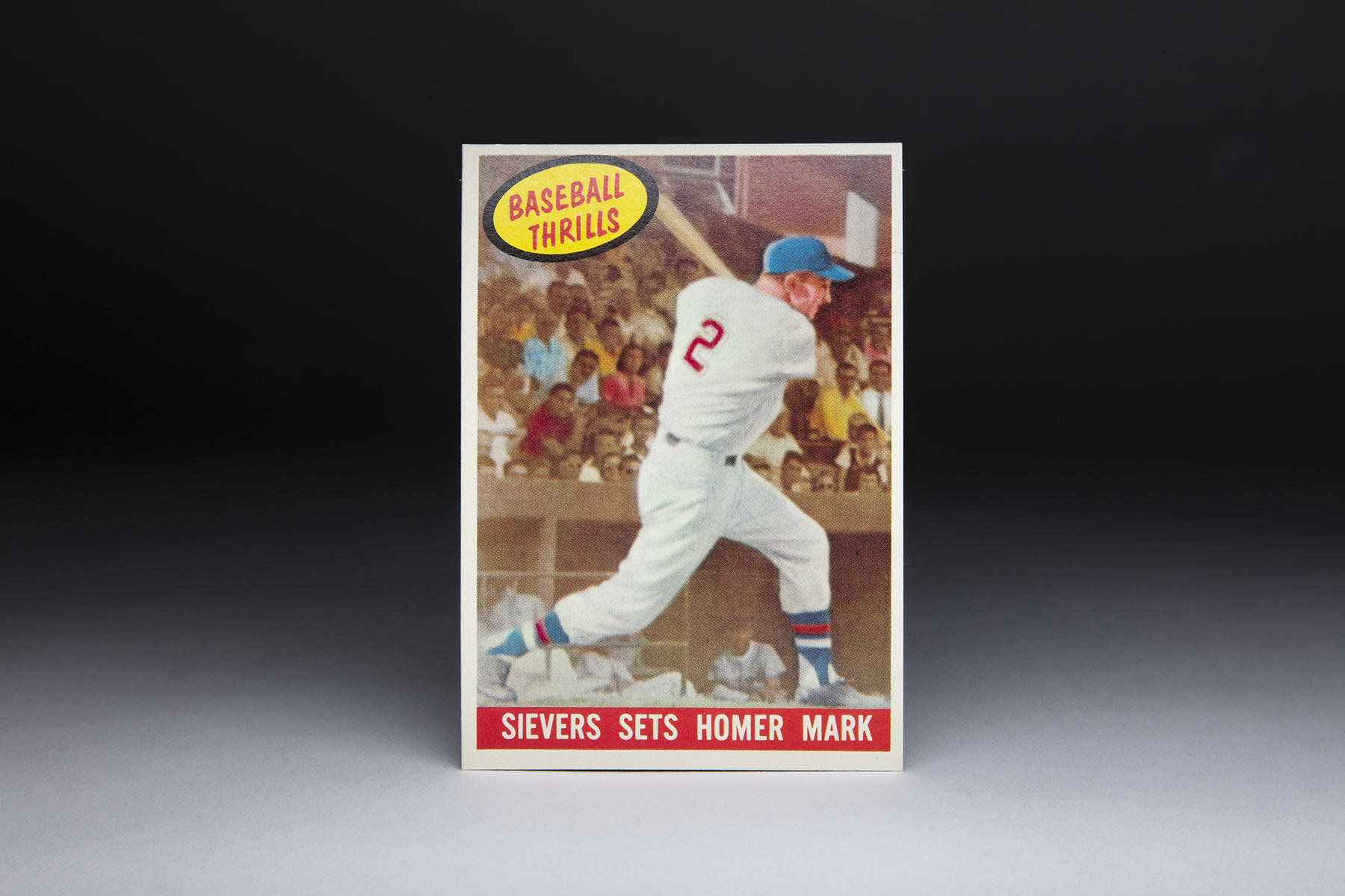 This 1959 Topps Roy Sievers card is part of the 'Baseball Thrills' series, which featured memorable moments from past seasons. (Milo Stewart Jr./National Baseball Hall of Fame and Museum)