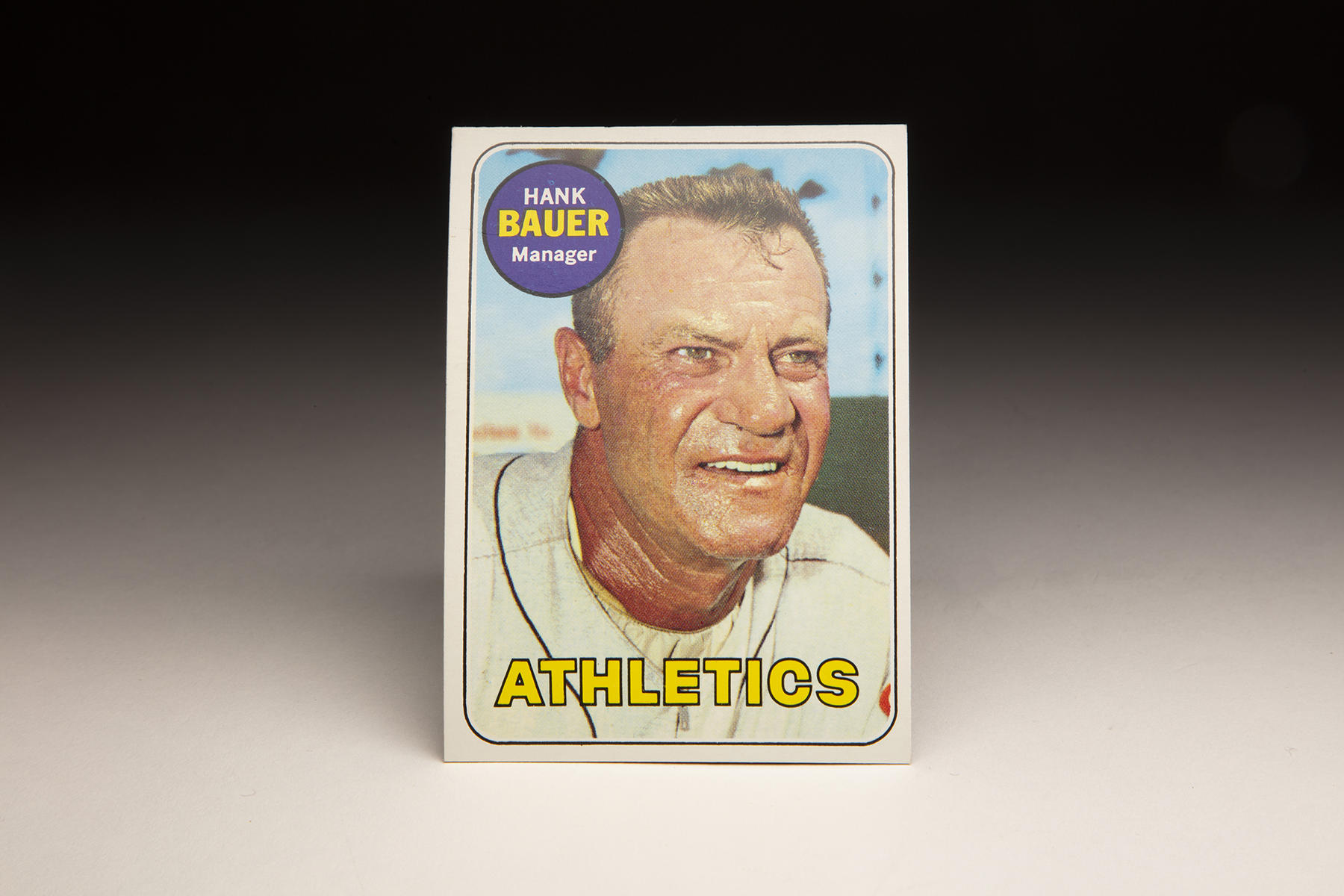 The front of Topps' 1969 Hank Bauer card. (Milo Stewart Jr./National Baseball Hall of Fame and Museum)