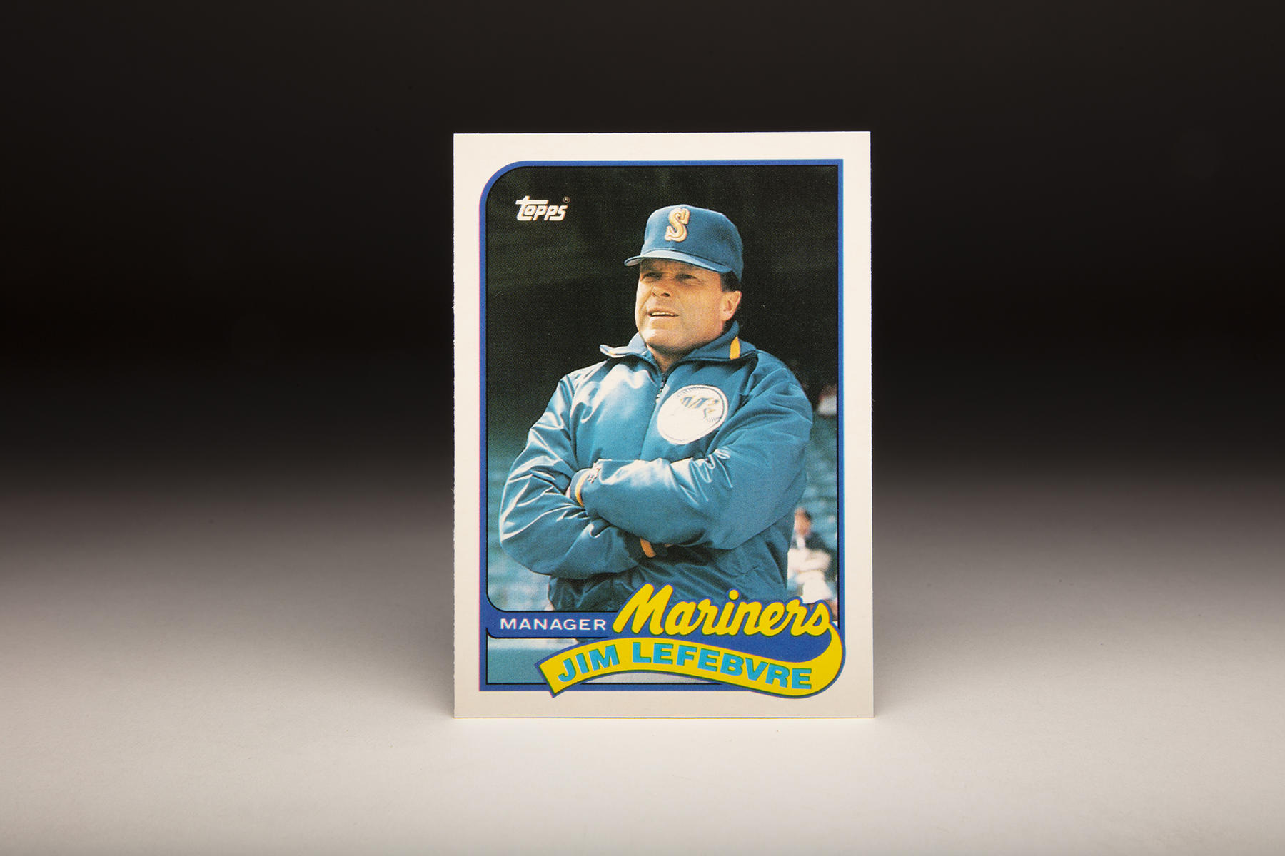 The front of this Topps 1989 Jim Lefebvre card features the former Major-Leaguer-turned-actor during his managerial stint in Seattle. (Milo Stewart Jr./National Baseball Hall of Fame and Museum)
