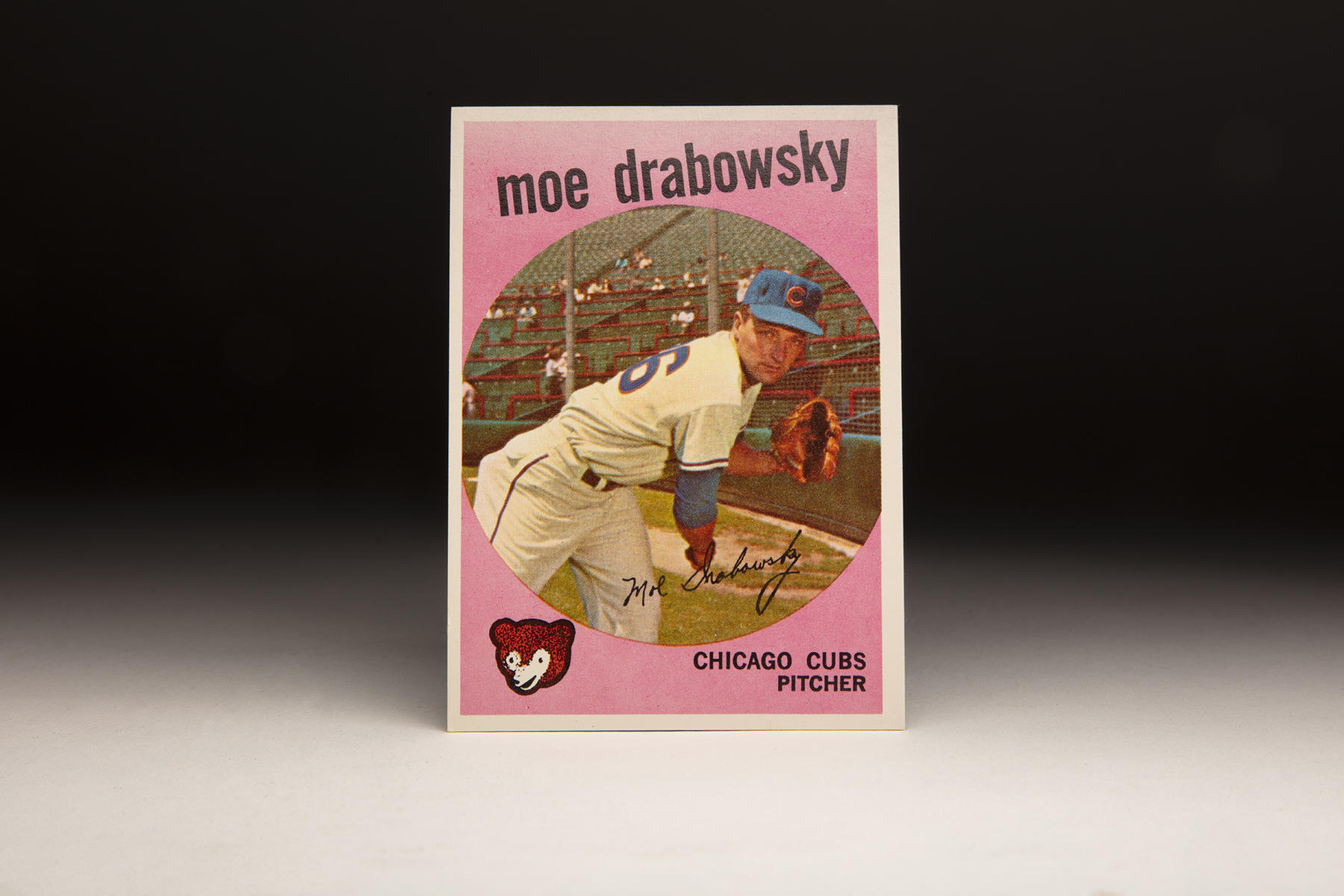 The front of Moe Drabowsky's 1959 Topps card features an unusual pink border. (Milo Stewart Jr./National Baseball Hall of Fame and Museum)