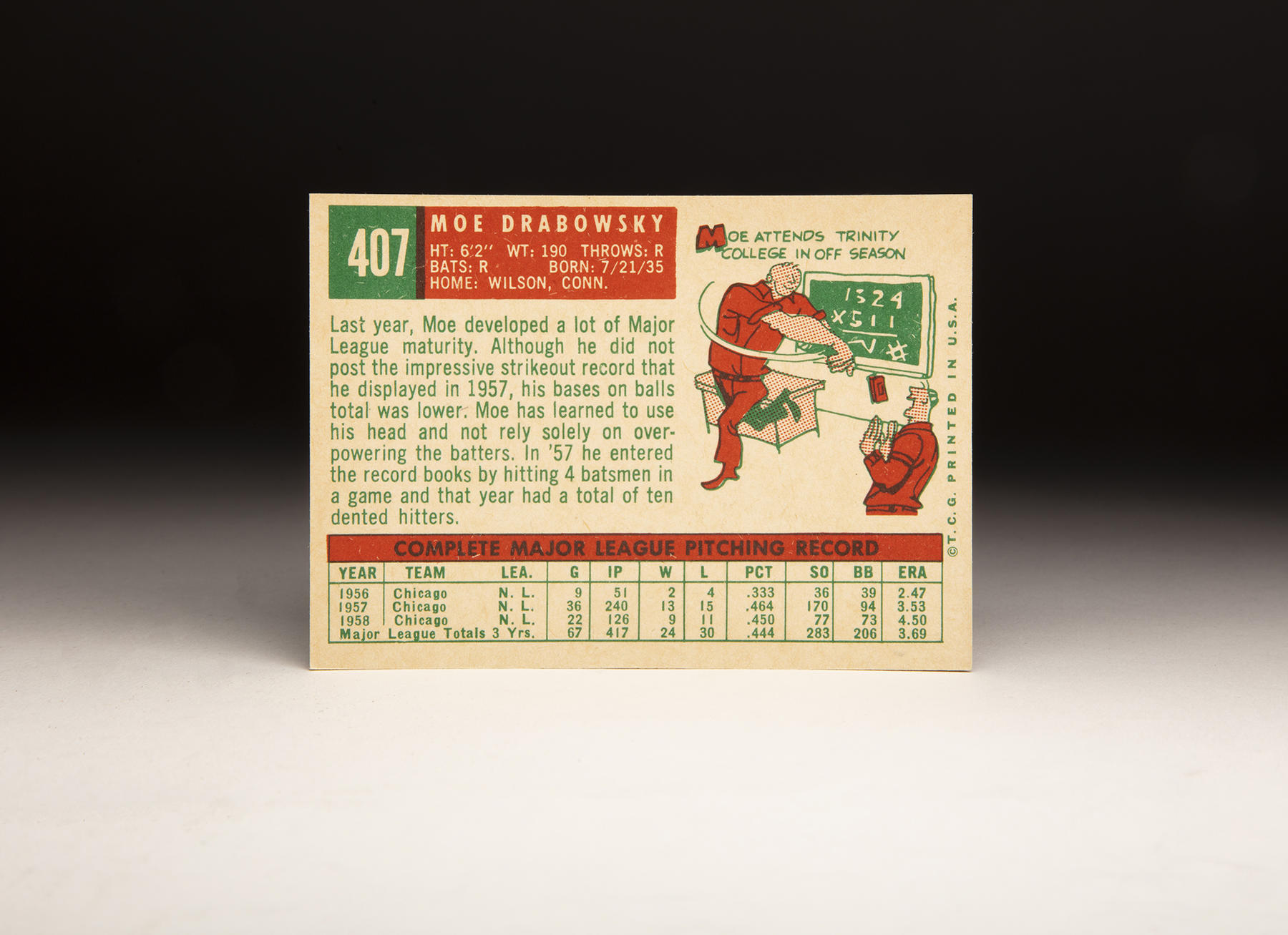 The reverse of Moe Drabowsky's 1959 Topps card. (Milo Stewart Jr./National Baseball Hall of Fame and Museum)