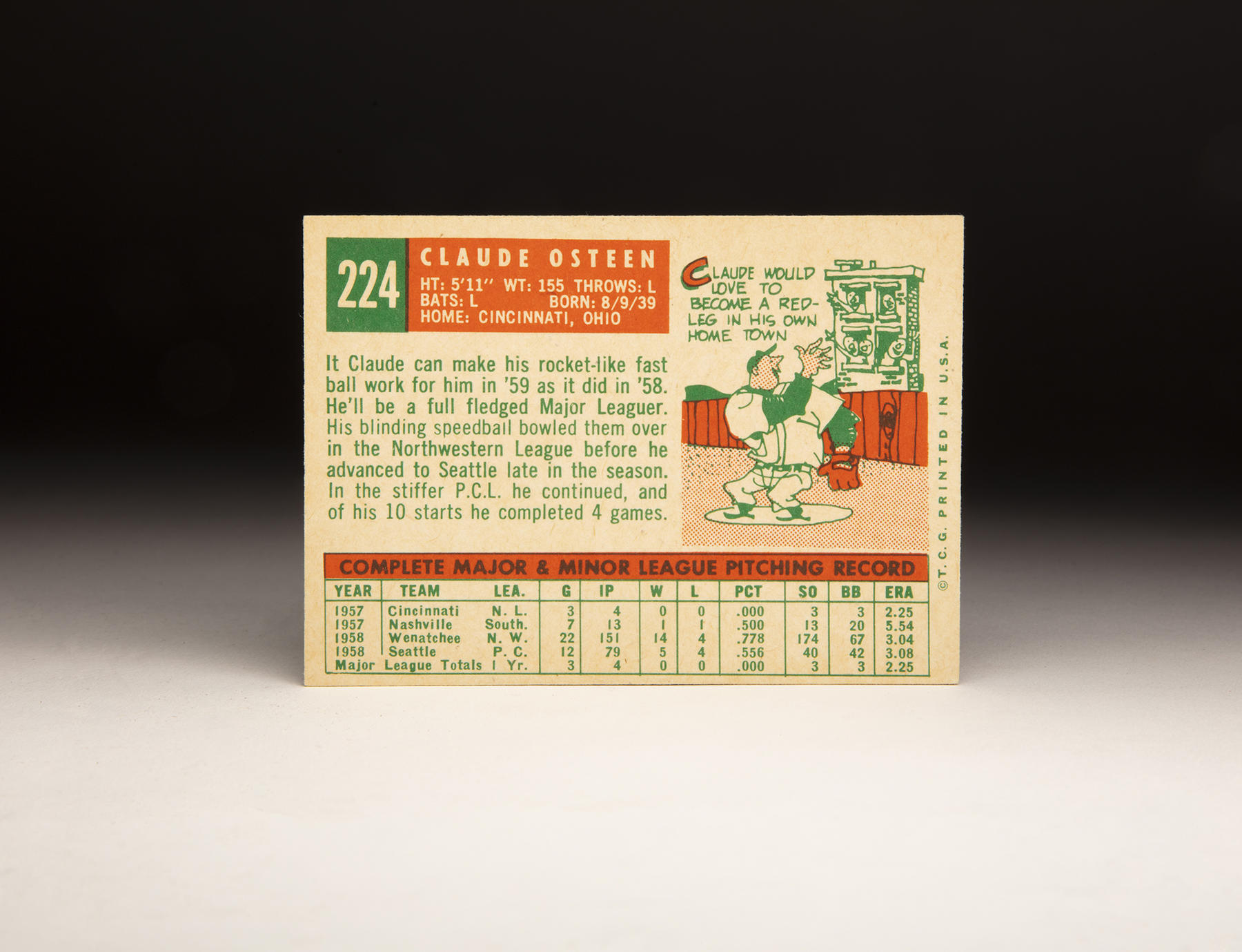 The reverse of Claude Osteen's 1959 Topps card. (Milo Stewart Jr./National Baseball Hall of Fame and Museum)
