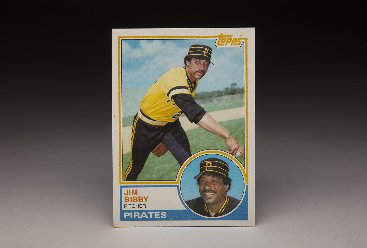 The sunny background on Jim Bibby's 1983 Topps card, taken on what appears to be a Spring Training day in Bradenton, Fla., only reinforces the boldness of the color. (Milo Stewart Jr./National Baseball Hall of Fame and Museum)