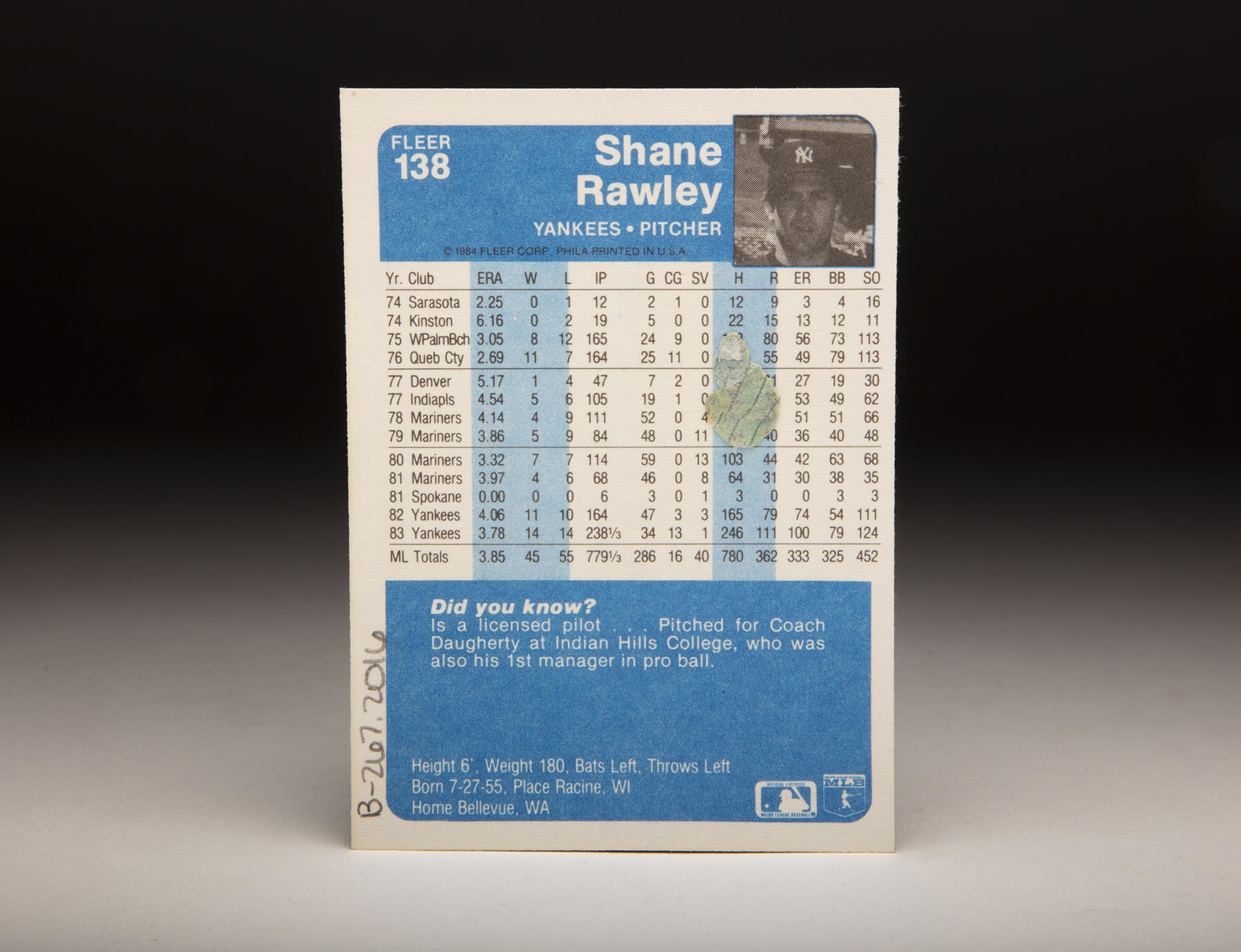 The reverse of Shane Rawley's 1984 Fleer card. (Milo Stewart Jr./National Baseball Hall of Fame and Museum)