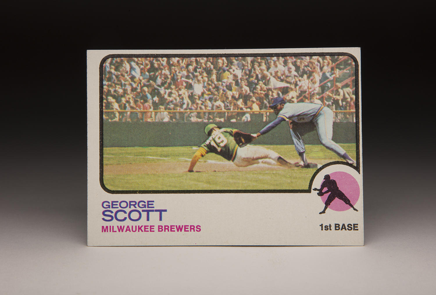 On George Scott's 1973 Topps card, two different photos appear to have been pasted together to create an image of the Oakland Coliseum. (Milo Stewart Jr./National Baseball Hall of Fame and Museum)