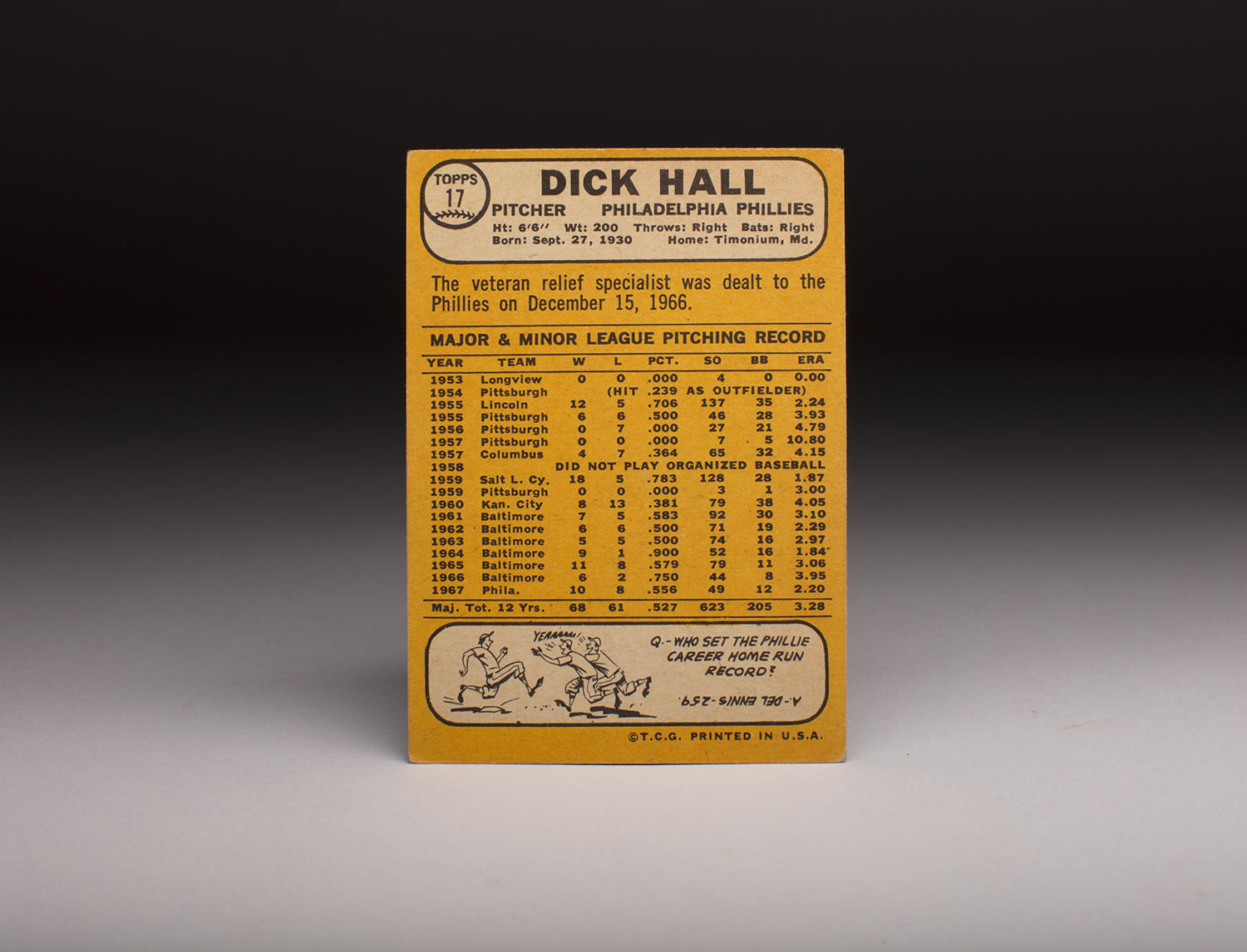 The reverse side of Dick Hall's 1968 Topps card. (Milo Stewart Jr./National Baseball Hall of Fame and Museum)