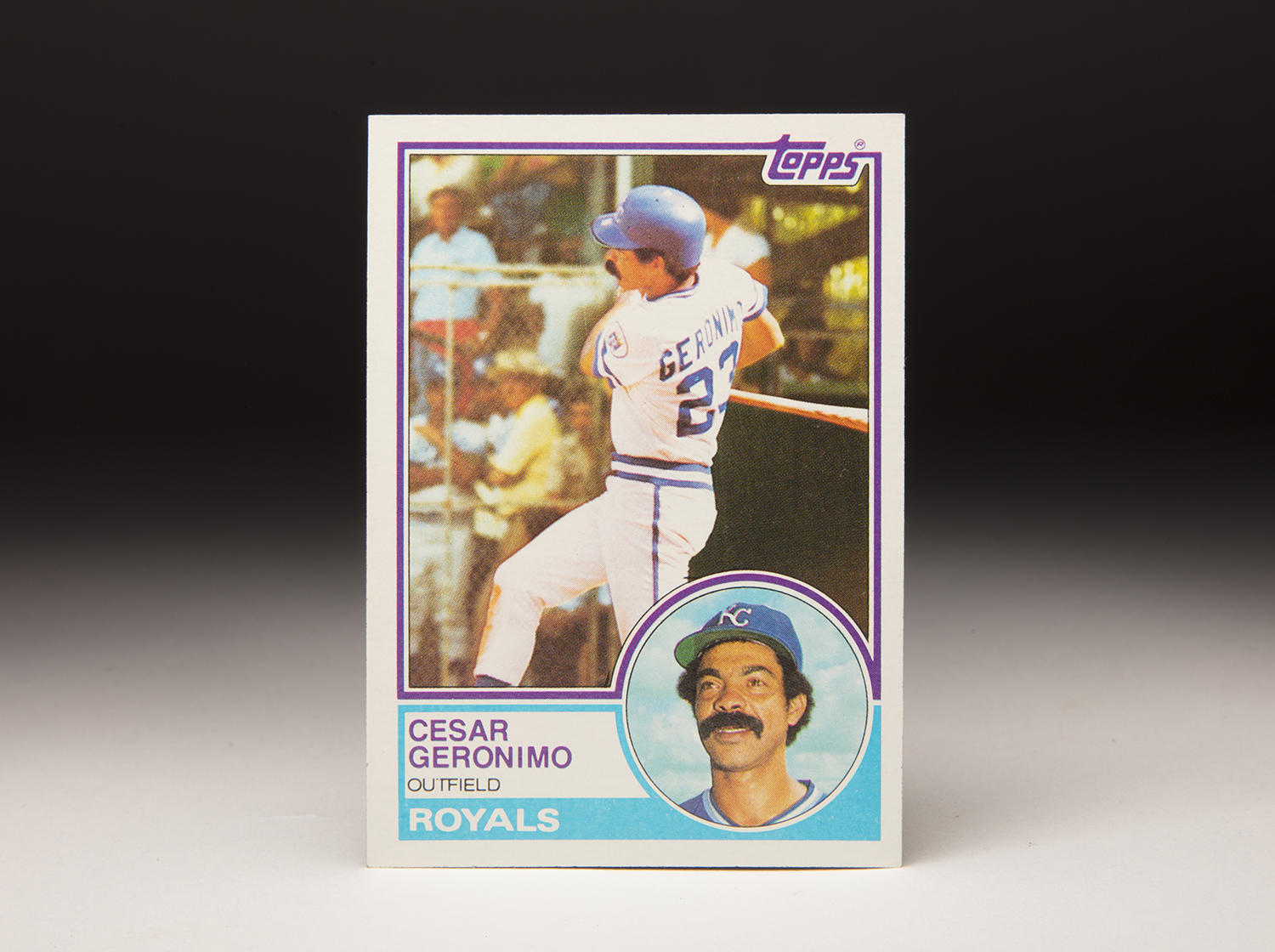 César Gerónimo's mustache is fully evident in the small portrait shot contained on his 1983 Topps card, pictured above. (Milo Stewart Jr./National Baseball Hall of Fame and Museum)