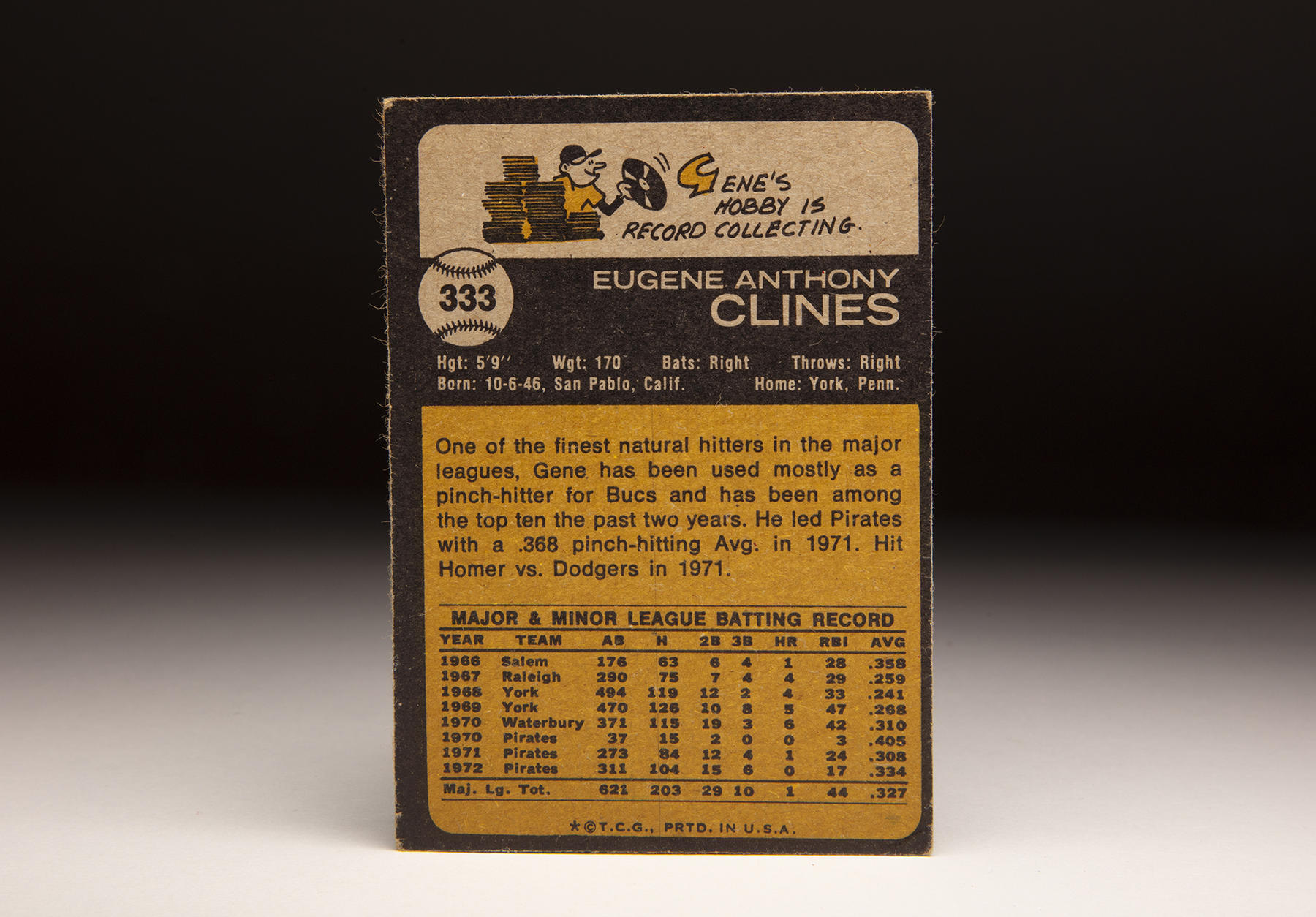 The reverse of Topps' 1973 Gene Clines card. (Milo Stewart Jr./National Baseball Hall of Fame and Museum)