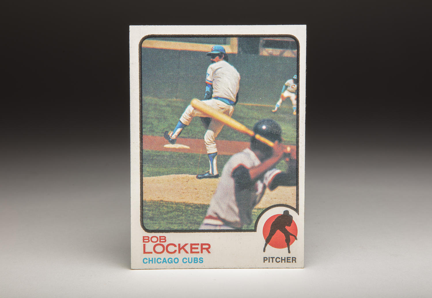 Traded from the Oakland Athletics to the Chicago Cubs after the 1972 season, Bob Locker sports an airbrushed Cubs uniform on his 1973 Topps card. (Milo Stewart Jr. / National Baseball Hall of Fame and Museum)