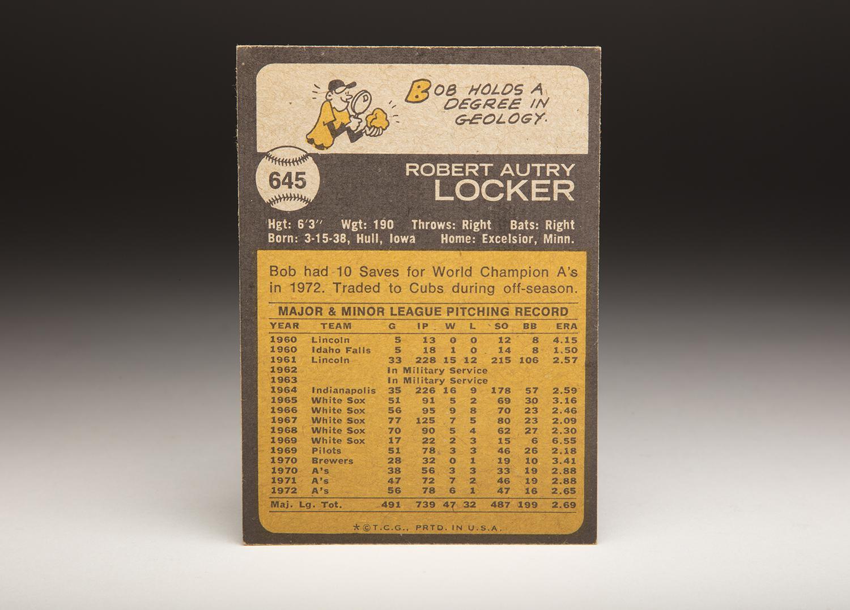 The reverse side of Bob Locker's 1973 Topps card. (Milo Stewart Jr. / National Baseball Hall of Fame and Museum)