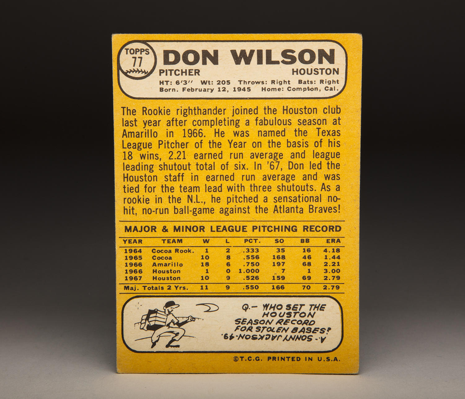 The reverse side of Don Wilson's 1968 Topps card. (By Photographer Milo Stewart Jr./National Baseball Hall of Fame and Museum)