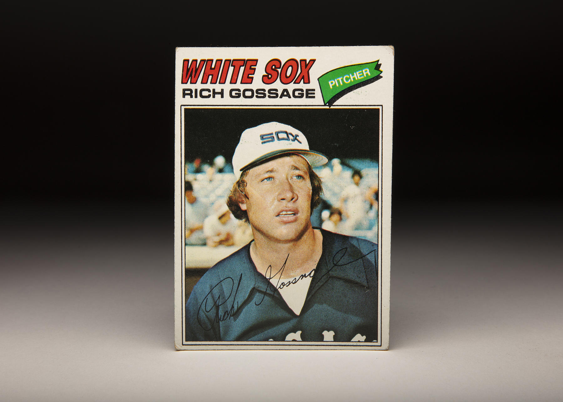 This 1977 Rich Gossage features the Hall of Famer during his stint with the White Sox, in their distinct dark blue and white uniforms. (Milo Stewart Jr./National Baseball Hall of Fame and Museum)