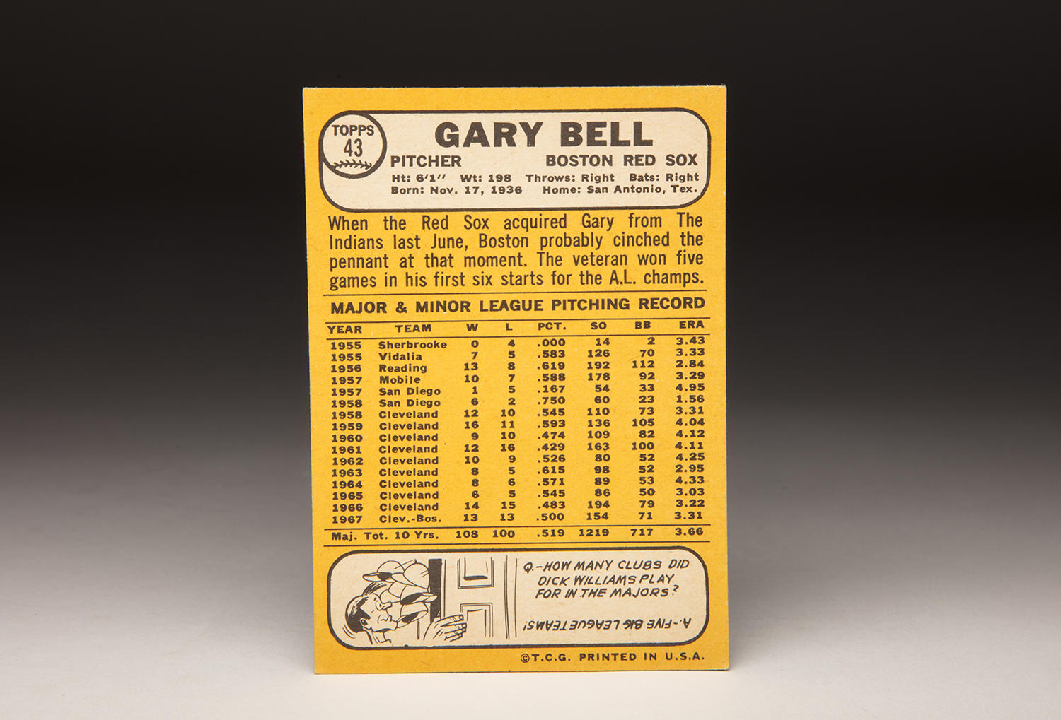 The reverse side of Gary Bell's 1968 Topps card. (Milo Stewart Jr./National Baseball Hall of Fame and Museum)