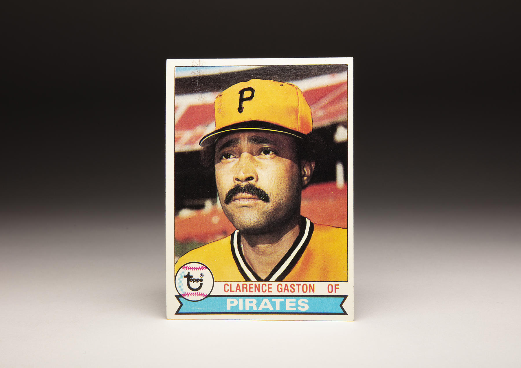 The front of Clarence Gaston's 1979 Topps card features some heavy airbrushing - Gaston was a late-season addition to the Pirates in 1978, and Topps didn't have any photographs of Gaston in a Pittsburgh uniform. (Milo Stewart Jr./National Baseball Hall of Fame and Museum)
