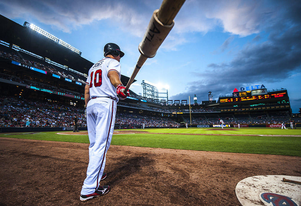Chipper Jones stands in the on deck circle during a game against the Cincinnati Reds at Turner Field on May 15, 2012. (Pouya Dianat / Atlanta Braves)