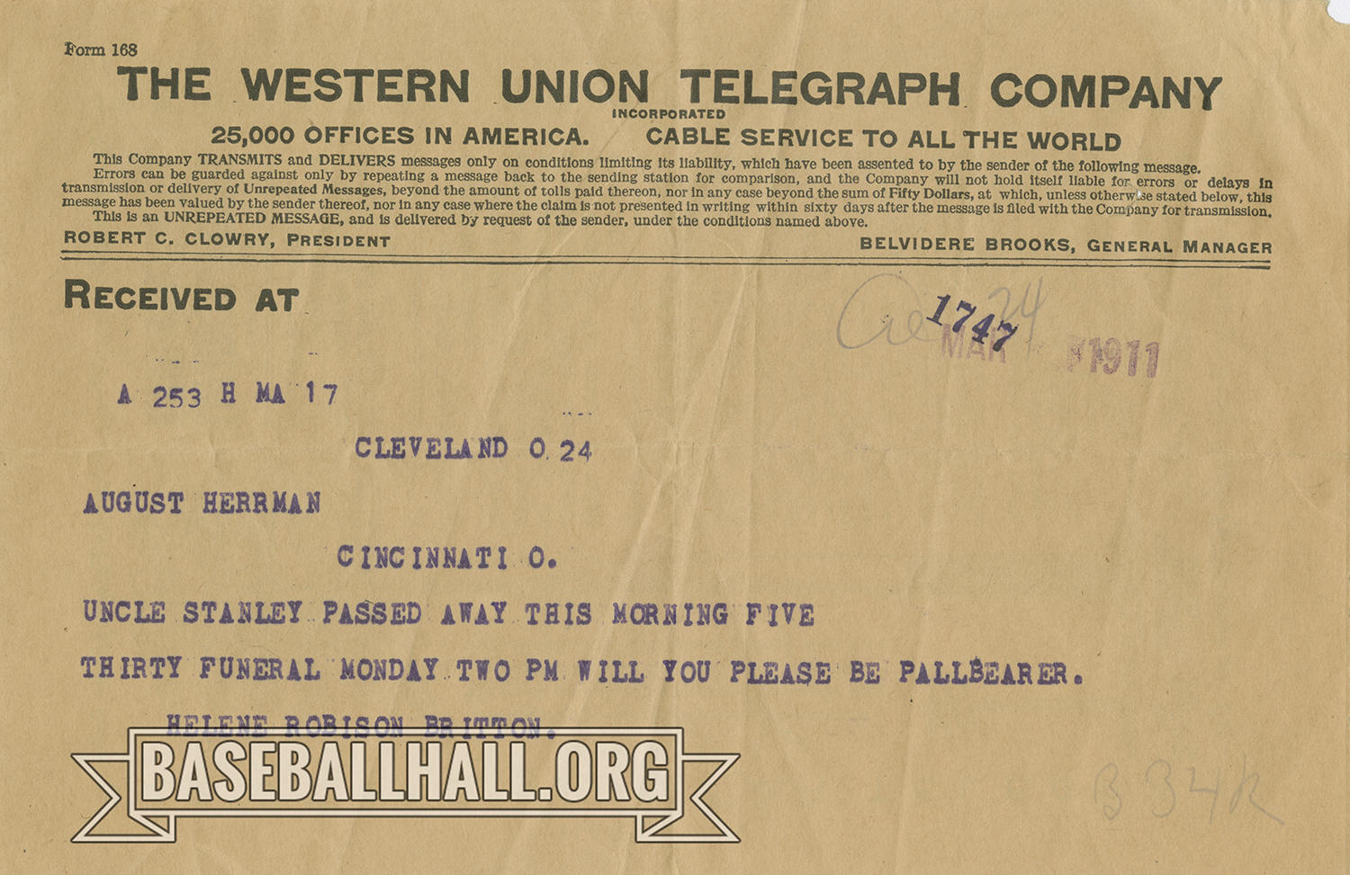 """Pictured above, a Western Union telegram from Helene Britton to chairman of the National Commission August Herrmann dated March 1911 informing him that Britton's uncle, Stanley Robison, had passed that morning. Britton would become the owner of the St. Louis Cardinals. <a href=""""https://collection.baseballhall.org/PASTIME/telegram-helene-britton-august-herrmann-1911-march-0"""">PASTIME</a> (National Baseball Hall of Fame and Museum)"""