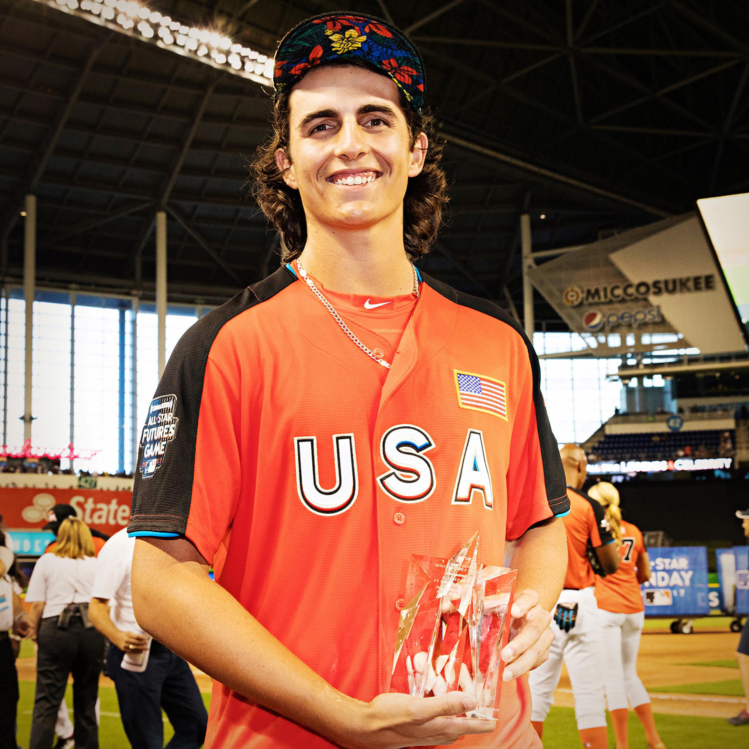 Brent Honeywell poses with his MVP Award, earned during the 2017 All-Star Futures Game on July 9, 2017 at Marlins Park. (Jean Fruth / National Baseball Hall of Fame and Museum)