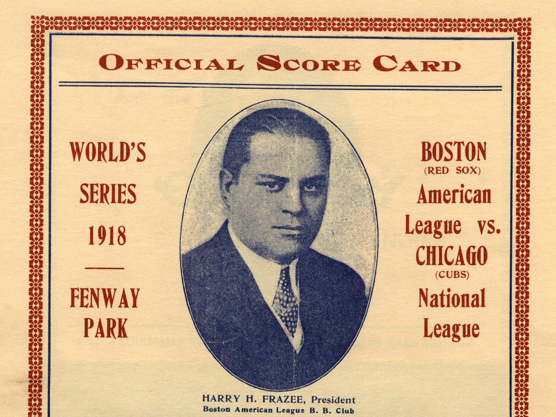 Detail from an official 1918 World Series scorecard. GV878.4.A15