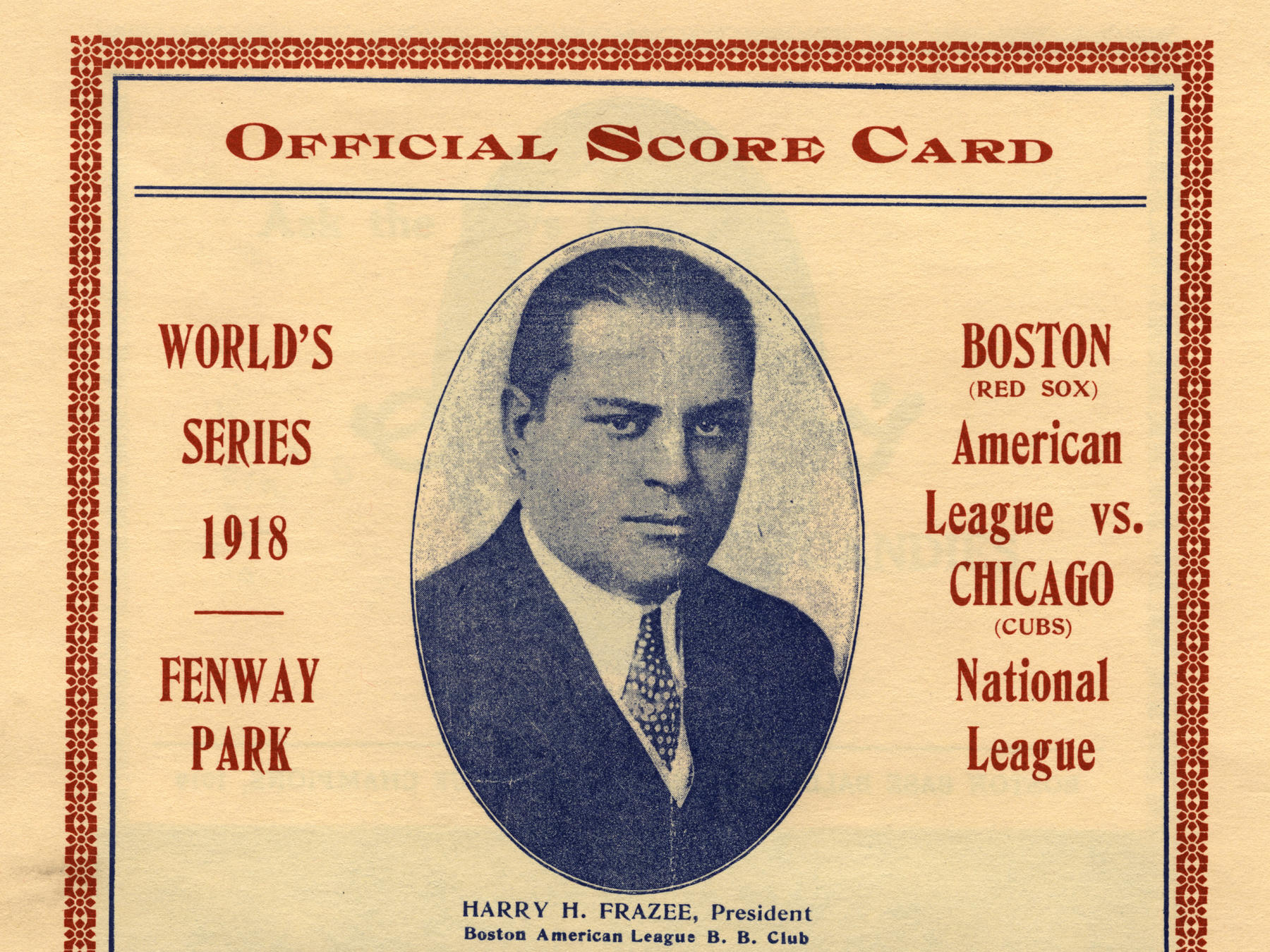 Detail from an official 1918 World Series scorecard. GV878.4.A15