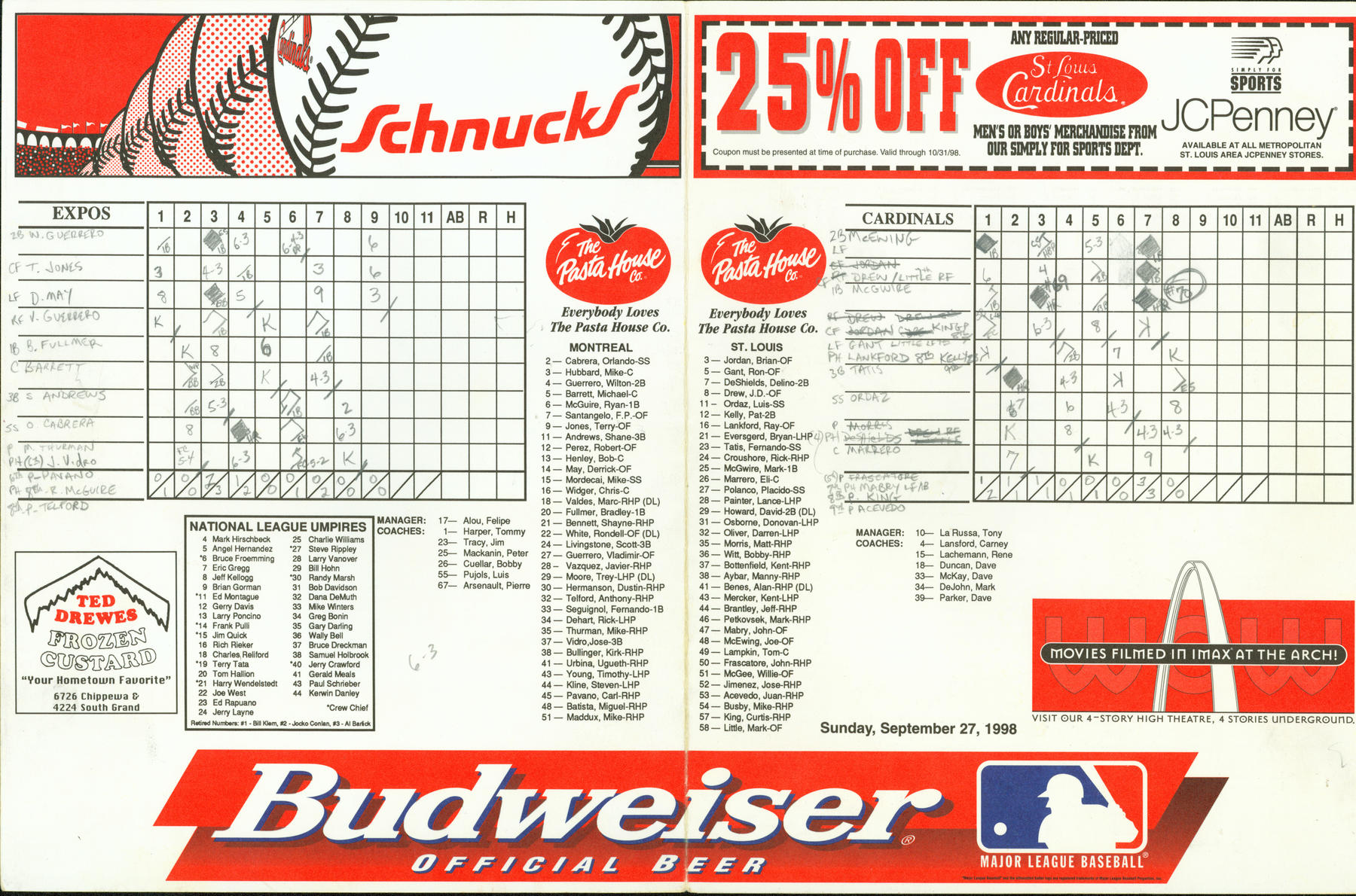 1998 St. Louis Cardinals scorecard vs the Montreal Expos - Mark McGwire's 69th and 70th home runs of season. - BL-3904-2000 (National Baseball Hall of Fame Library)