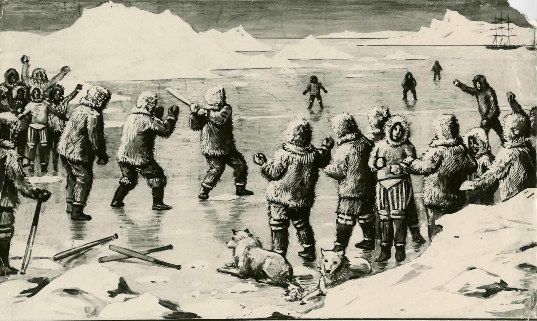 Artwork that depicts a baseball game in Alaska held in 1894. BL-2540.93 (National Baseball Hall of Fame Library)