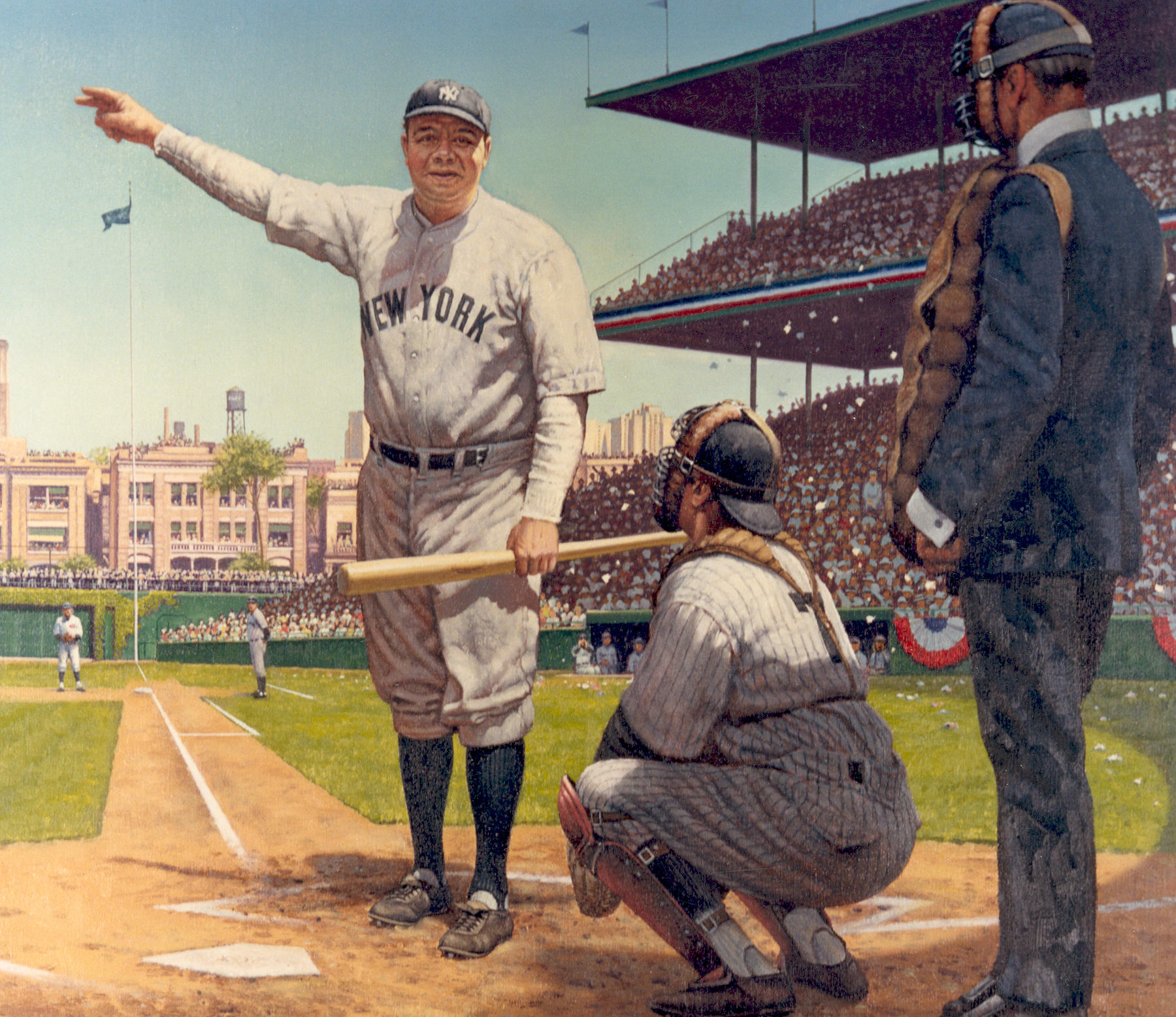 """A detail from Robert Thom's painting depicting Babe Ruth's """"Called Shot"""" in the 1932 World Series, is part of the Hall of Fame's collection of artwork. B-325.76A (National Baseball Hall of Fame)"""