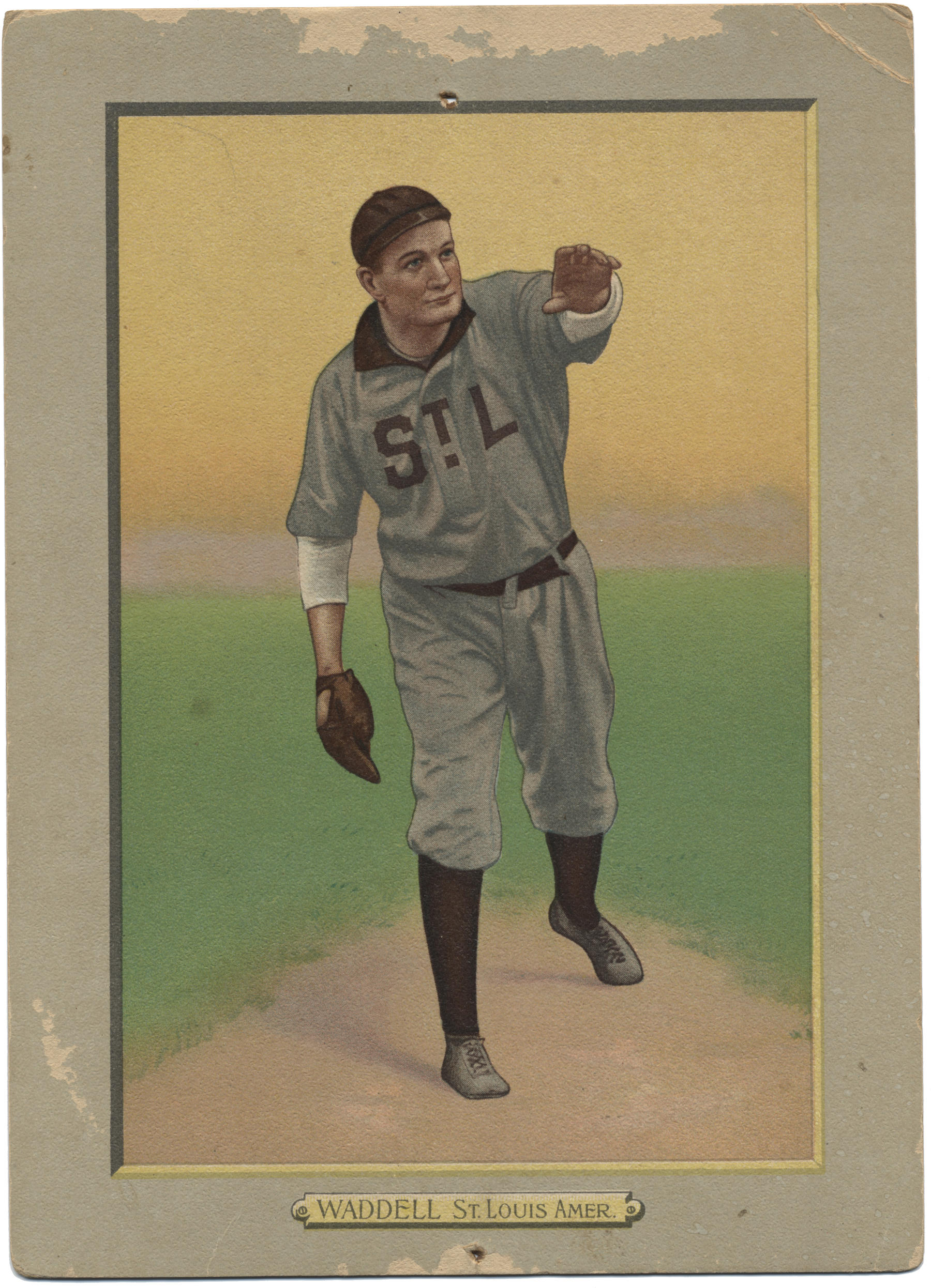 This Turkey Red tobacco card from 1911 shows Rube Waddell with his final big league club, the St. Louis Browns, though the image is clearly based on the Conlon photo taken years earlier. - B-140.37 (National Baseball Hall of Fame Library)