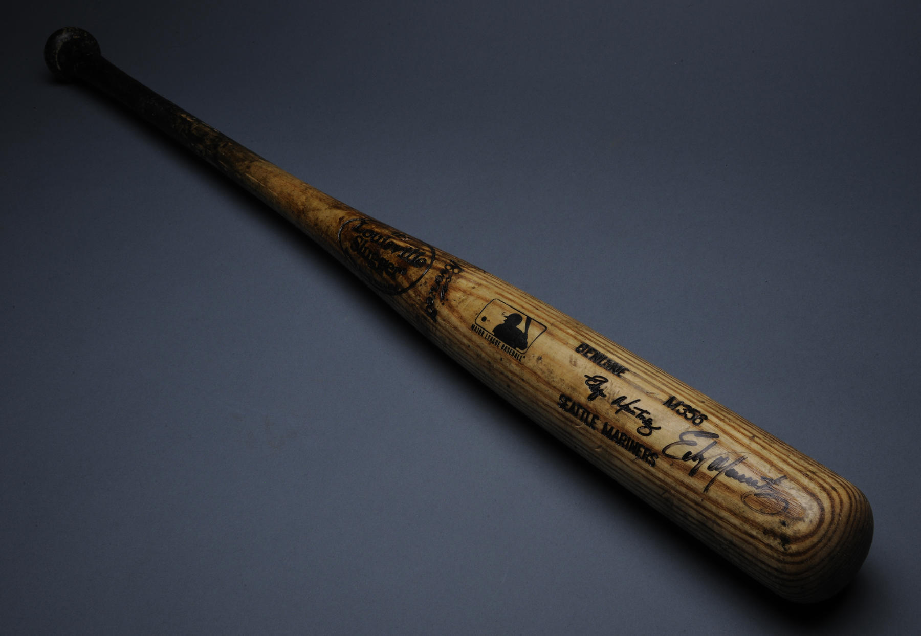 Edgar Martinez of the Mariners used this bat to drive in his 138th and 138th runs of the season with a two-run homer against the Athletics on Sept. 23, 2000. Martinez led the American League with 145 RBI that season. - B-323-2000 (Milo Stewart, Jr./National Baseball Hall of Fame)