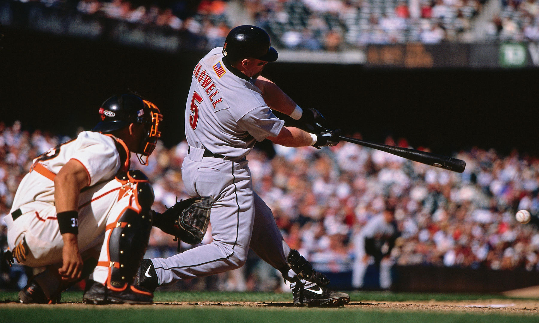 Jeff Bagwell of the Houston Astros bats against the San Francisco Giants during a game against the San Francisco Giants in 2001. 09BMangin011 (Brad Mangin / National Baseball Hall of Fame Library)