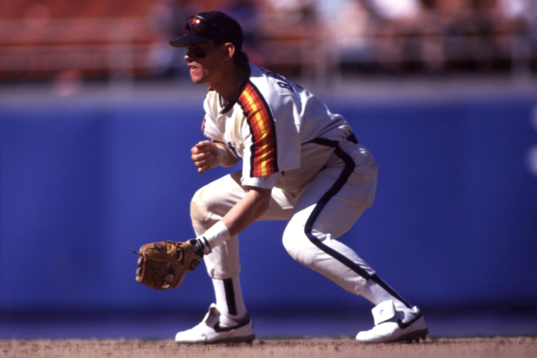 Craig Biggio of the Houston Astros playing second base, 1993. - BL-12488.94 (John Cordes / National Baseball Hall of Fame Library)