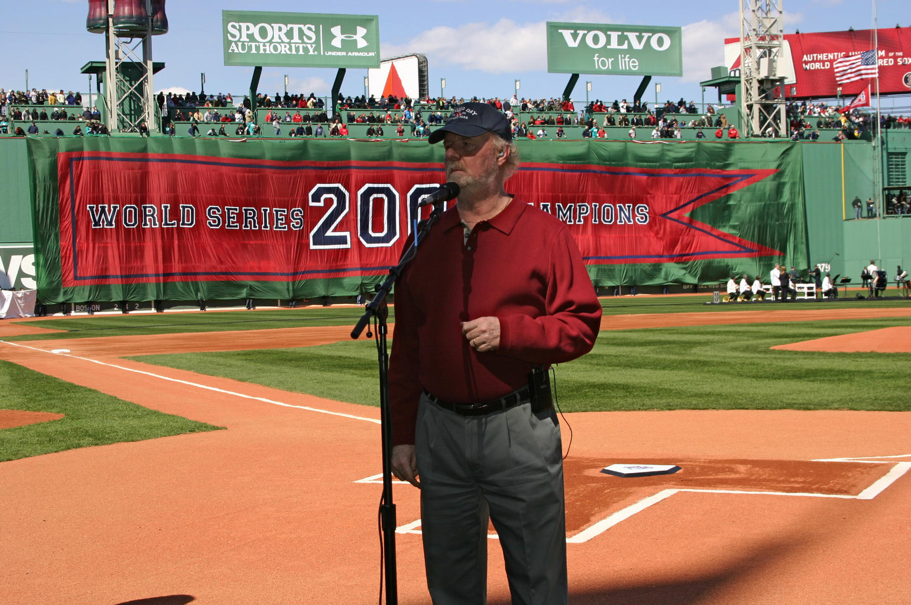 """Terry Cashman performing """"This is For Teddy Ballgame"""" at Fenway Park on April 11, 2005, just before the World Series ring ceremony. BL-204.2013.3 (Laura Fieber-Minogue / National Baseball Hall of Fame Library)"""