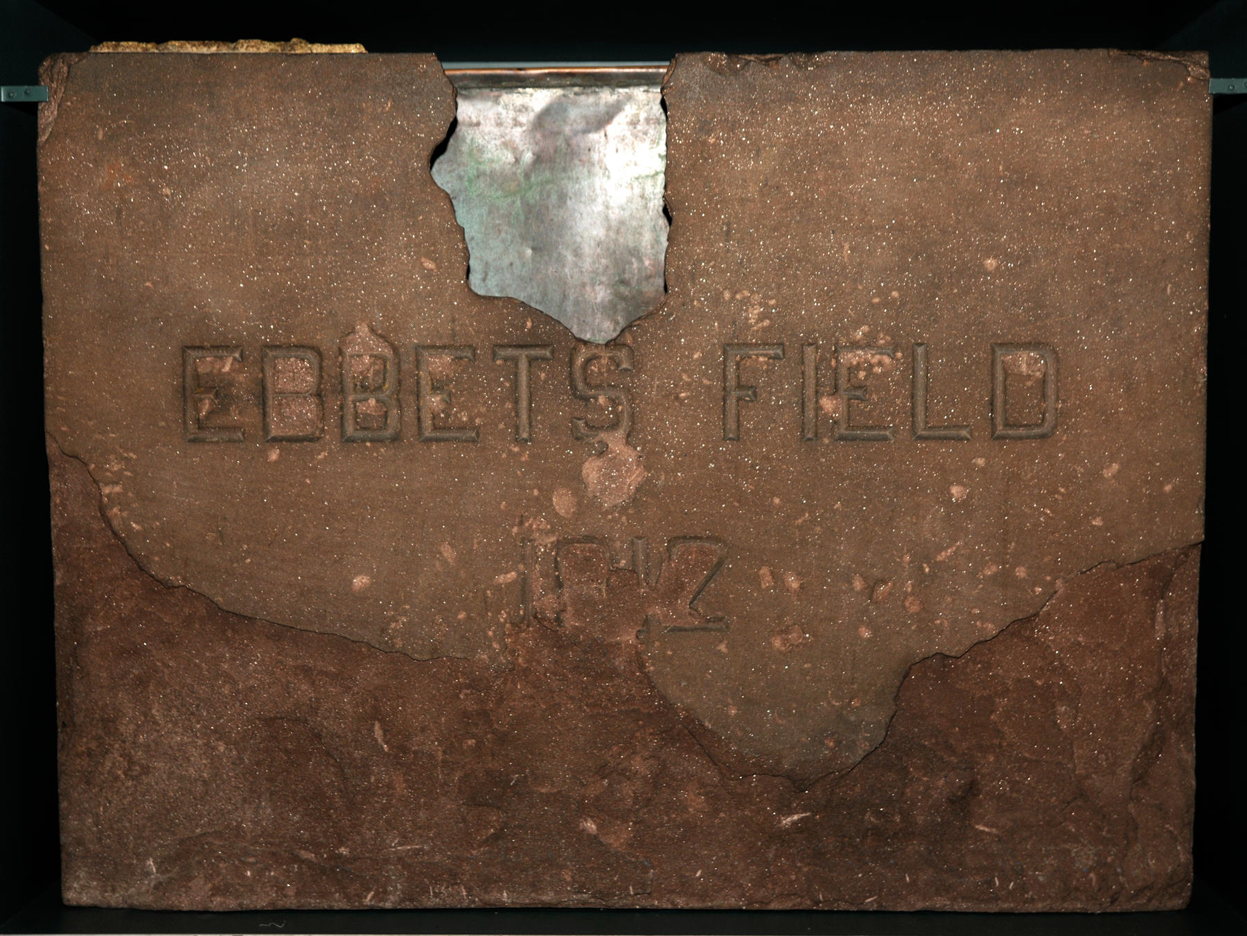 Ebbets Field's cornerstone is on exhibit at the Hall of Fame – B-35-60 (Milo Stewart, Jr. / National Baseball Hall of Fame)